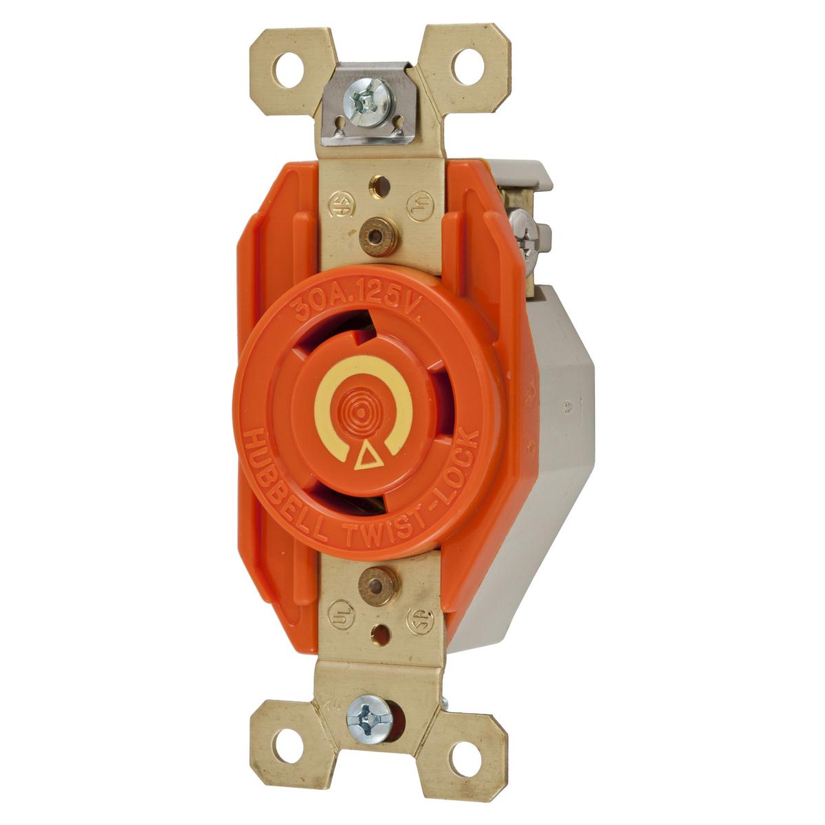Hubbell IG2610 30 Amp 125 Volt 2-Pole 3-Wire NEMA L5-30R Orange Isolated Ground Locking Single Receptacle