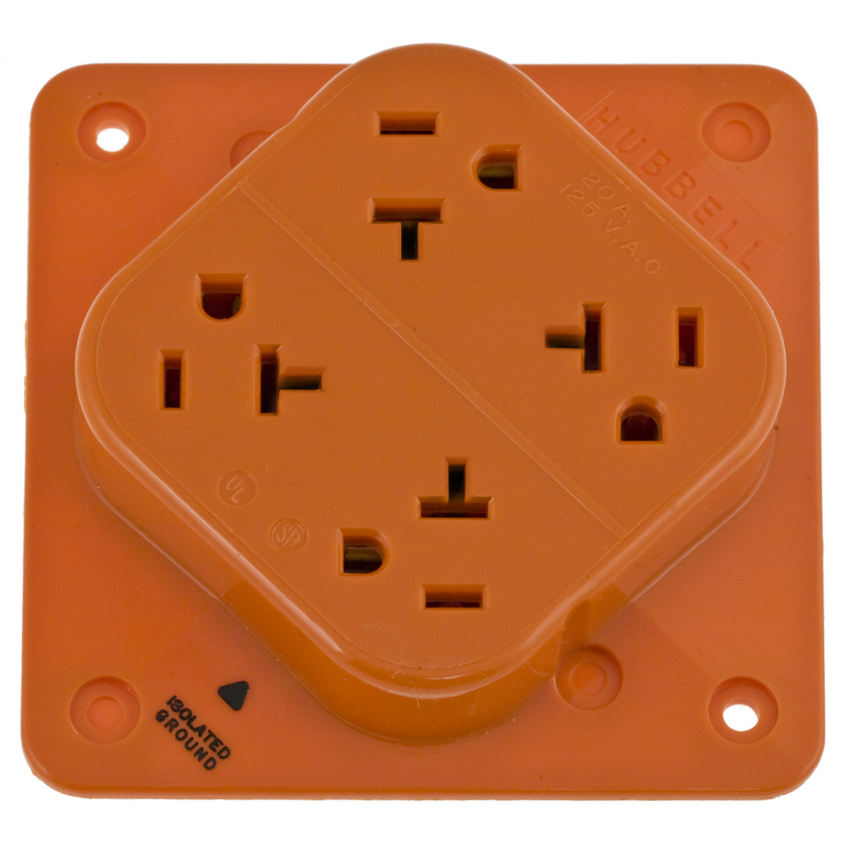 Hubbell IG420 20 Amp 125 VAC 2-Pole 3-Wire NEMA 5-20R Orange Isolated Ground Straight Blade Receptacle