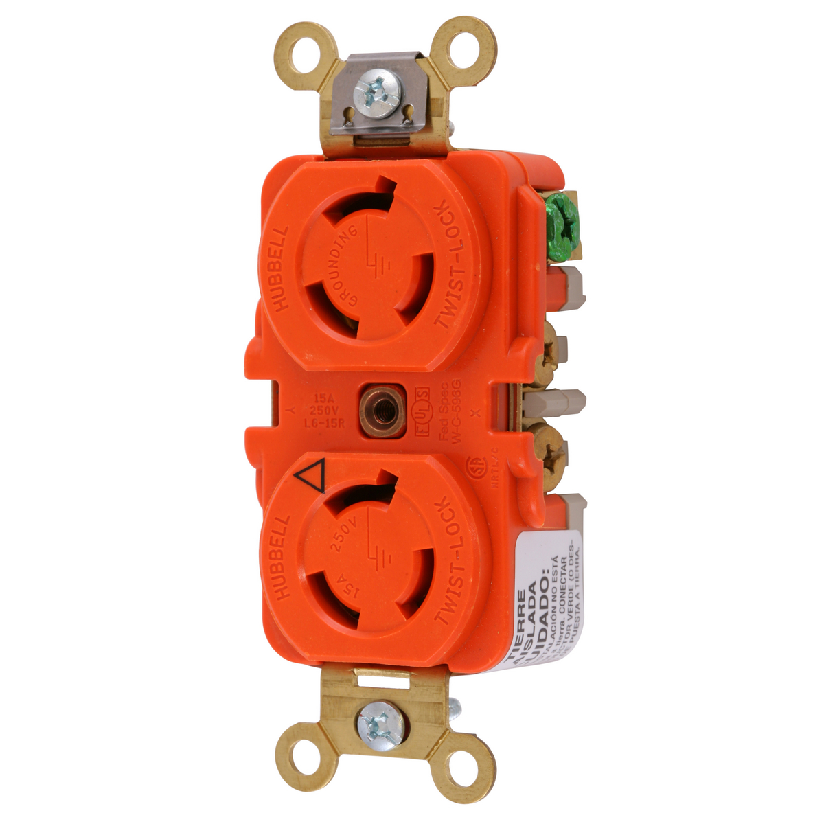 Hubbell IG4550A 15 Amp 250 VAC 2-Pole 3-Wire NEMA L6-15R Orange Isolated Ground Duplex Receptacle