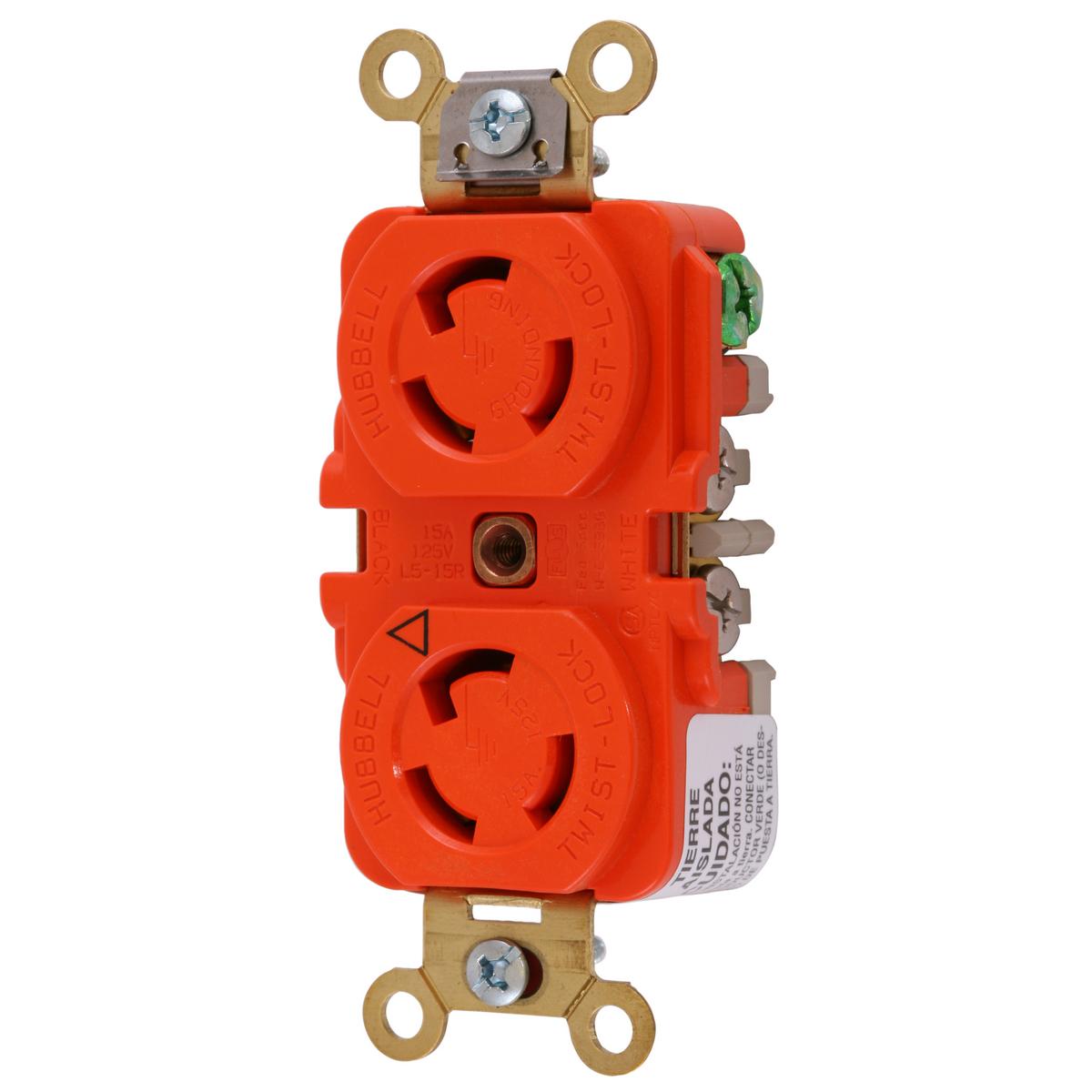 Hubbell IG4700A 15 Amp 125 Volt 2-Pole 3-Wire NEMA L5-15R Orange Isolated Ground Locking Duplex Receptacle