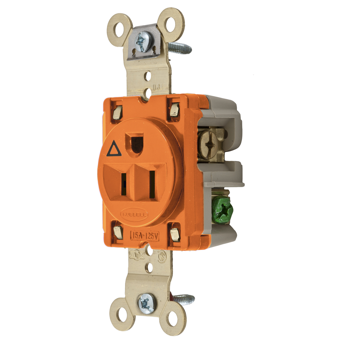 Hubbell IG5261 15 Amp 125 Volt 2-Pole 3-Wire NEMA 5-15R Orange Straight Blade Isolated Ground Single Receptacle