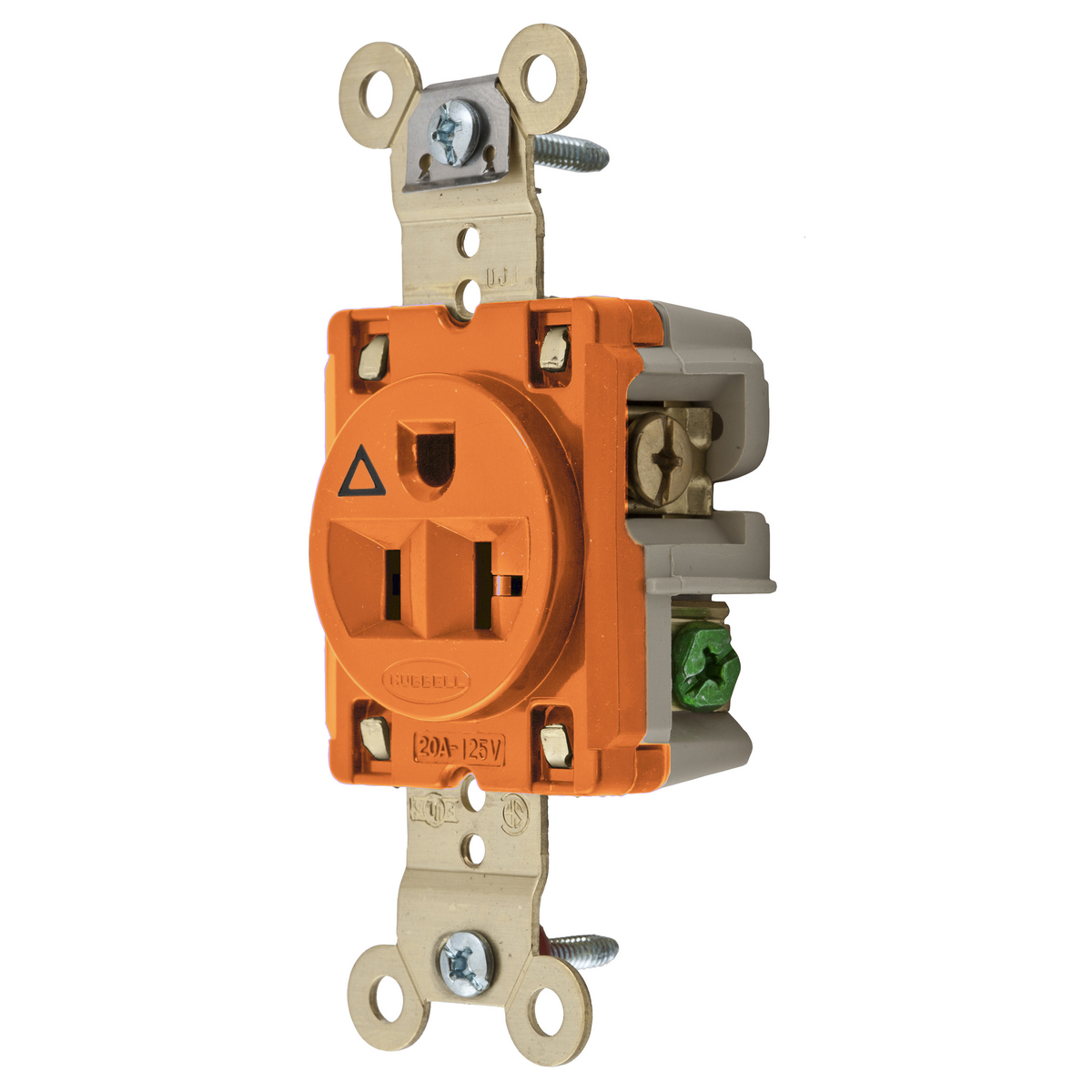 Hubbell IG5361 20 Amp 125 Volt 2-Pole 3-Wire NEMA 5-20R Orange Isolated Ground Single Straight Blade Receptacle