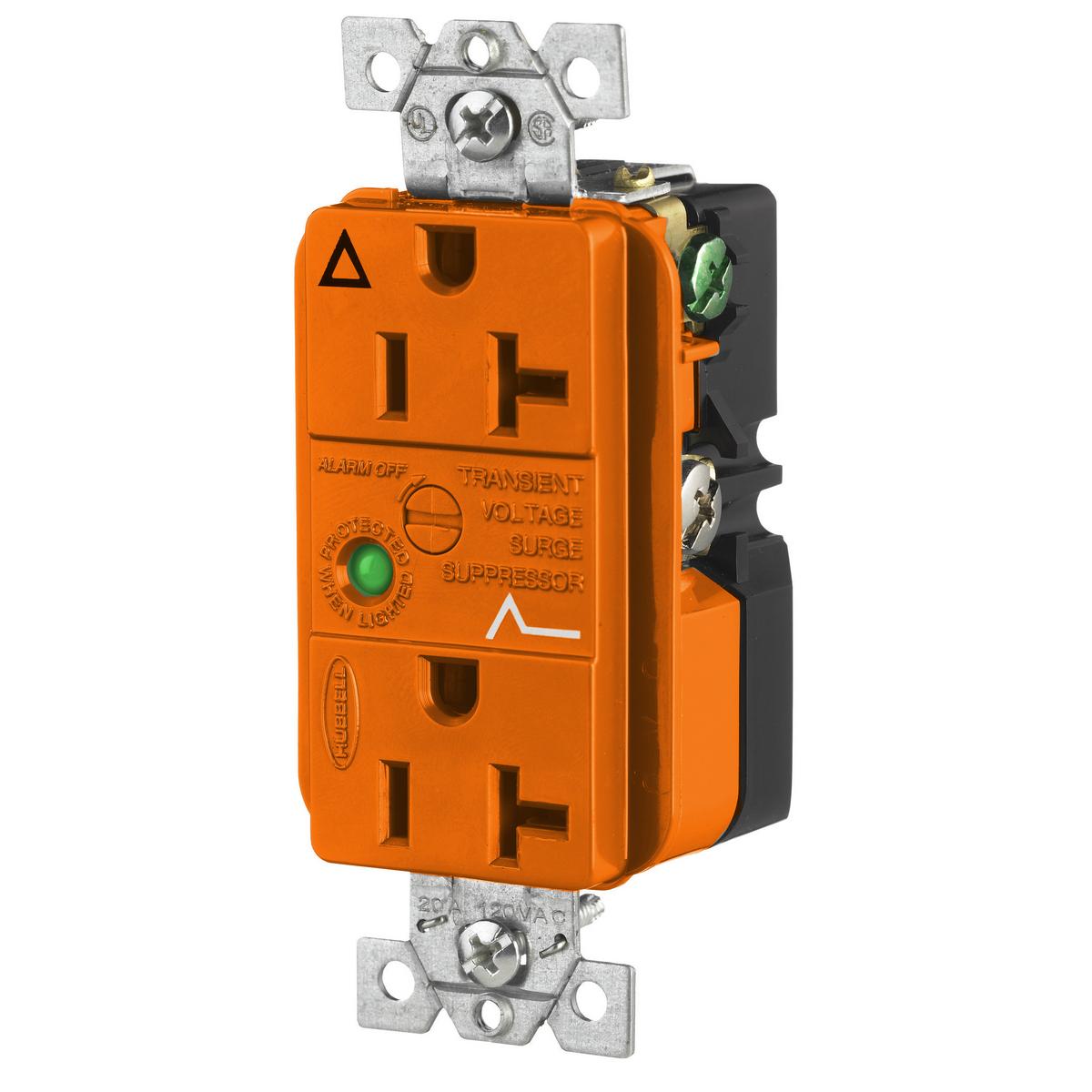Hubbell IG5362OSA 20 Amp 125 Volt 2-Pole 3-Wire NEMA 5-20R Orange Straight Blade Duplex Receptacle