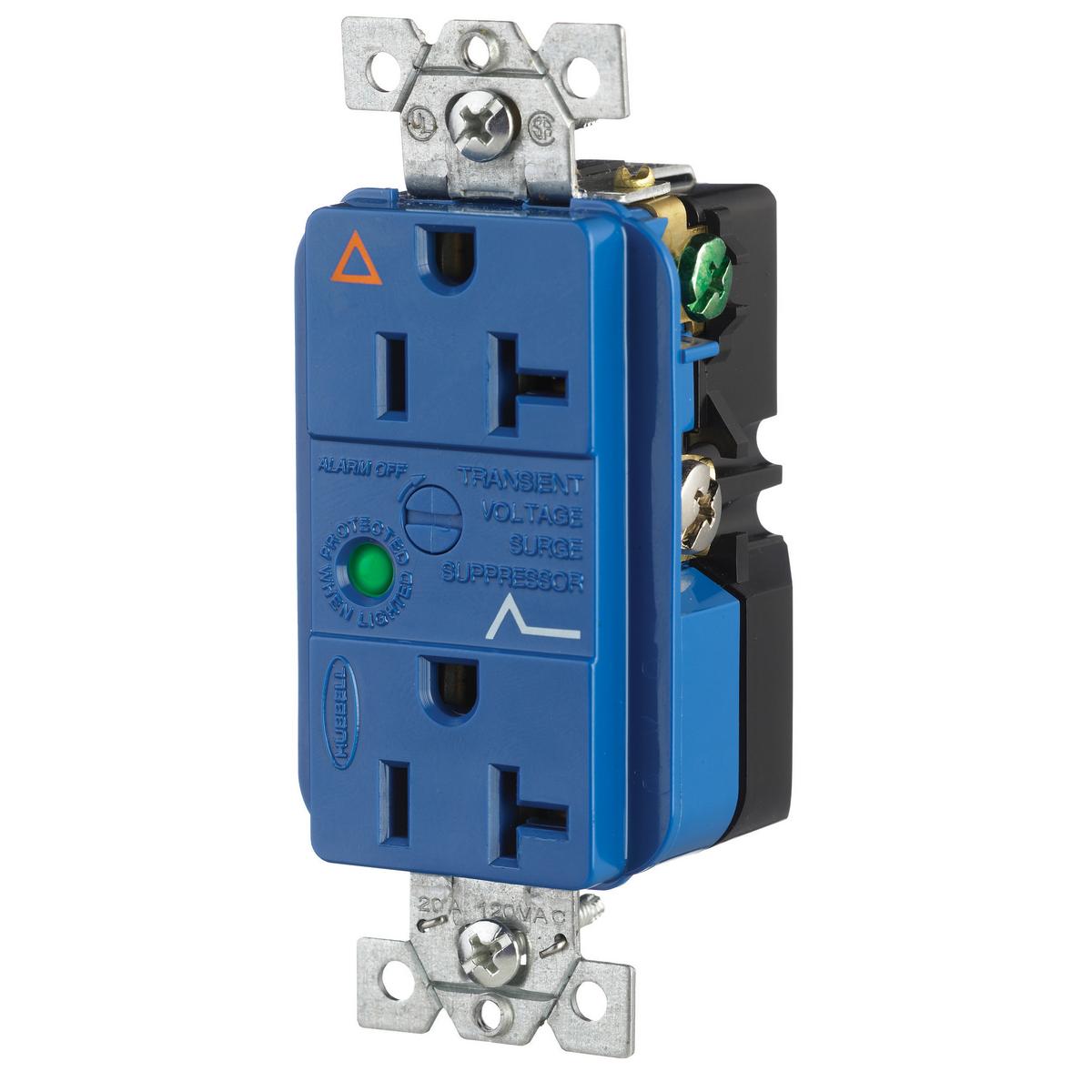 Hubbell IG5362SA 20 Amp 125 Volt 2-Pole 3-Wire NEMA 5-20R Blue Duplex Surge Suppression Receptacle