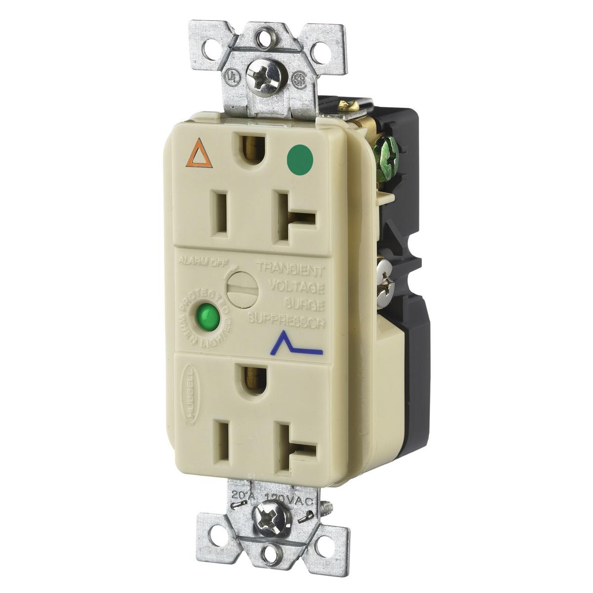 Hubbell IG8362ISA 20 Amp 125 Volt 2-Pole 3-Wire NEMA 5-20R Ivory Duplex Surge Suppression Receptacle