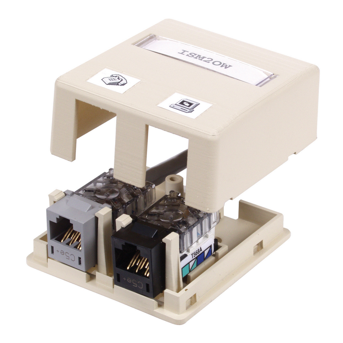Hubbell ISB2OW 2-Port Office White High Impact Resistant Flame Retardant Polymer Surface Mount Box