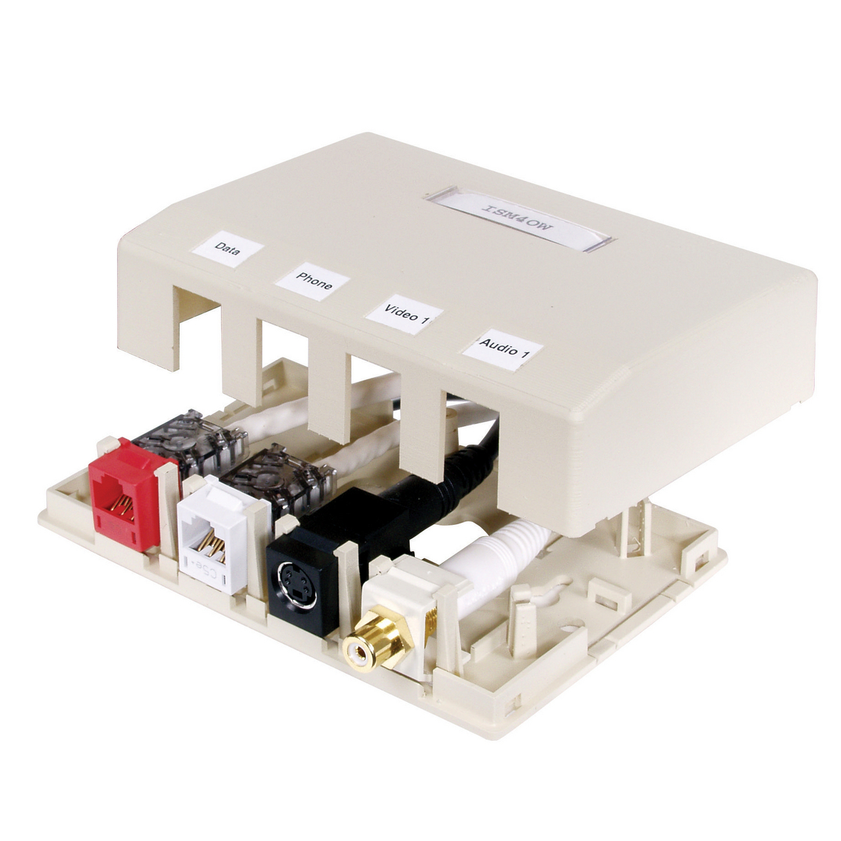 Hubbell ISB4OW 4-Port Office White High Impact Resistant Flame Retardant Polymer Surface Mount Box