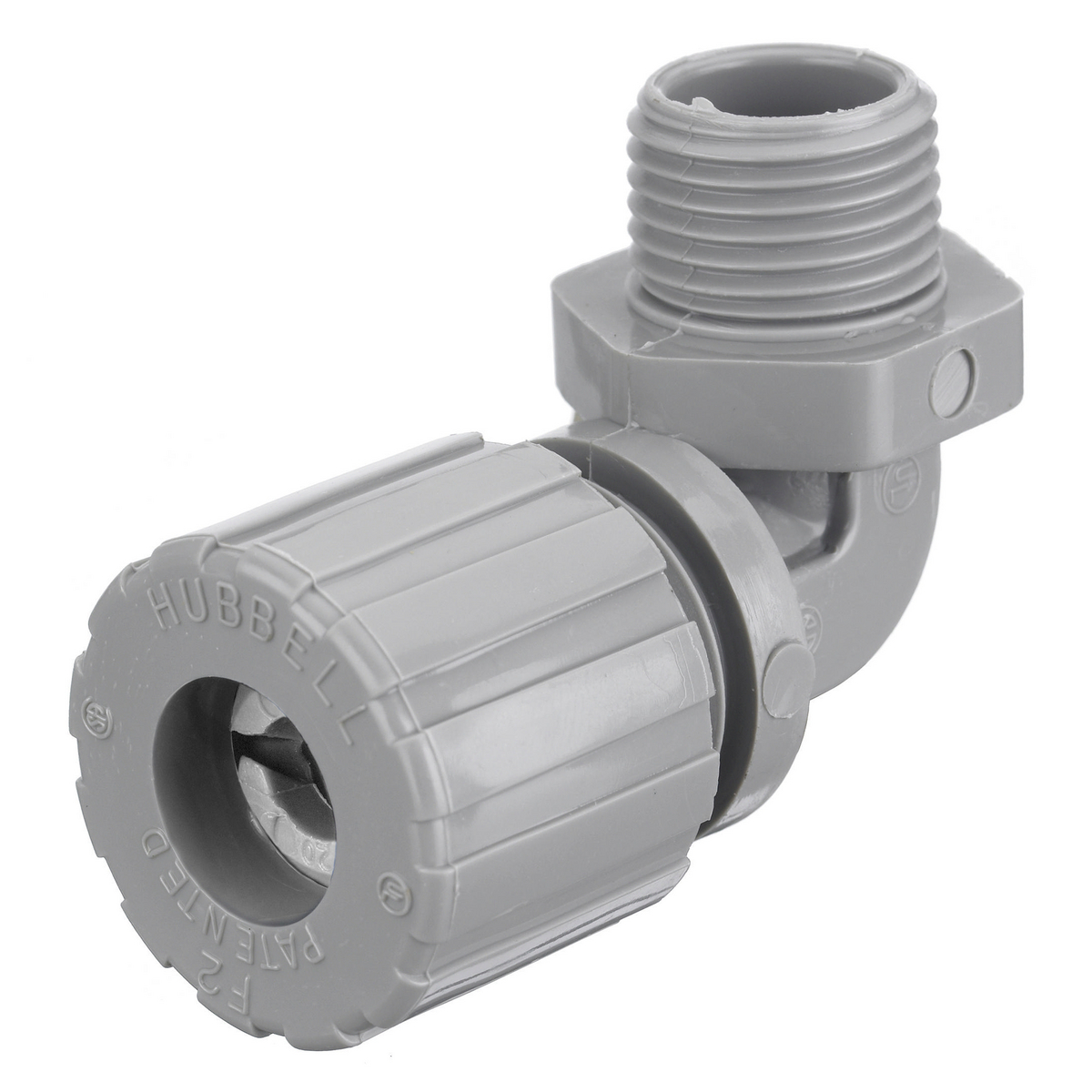 Hubbell NHC1022CR 1/2 Inch Male Threaded 0.25 to 0.38 Inch Gray Nylon 90 Degrees Cord Connector