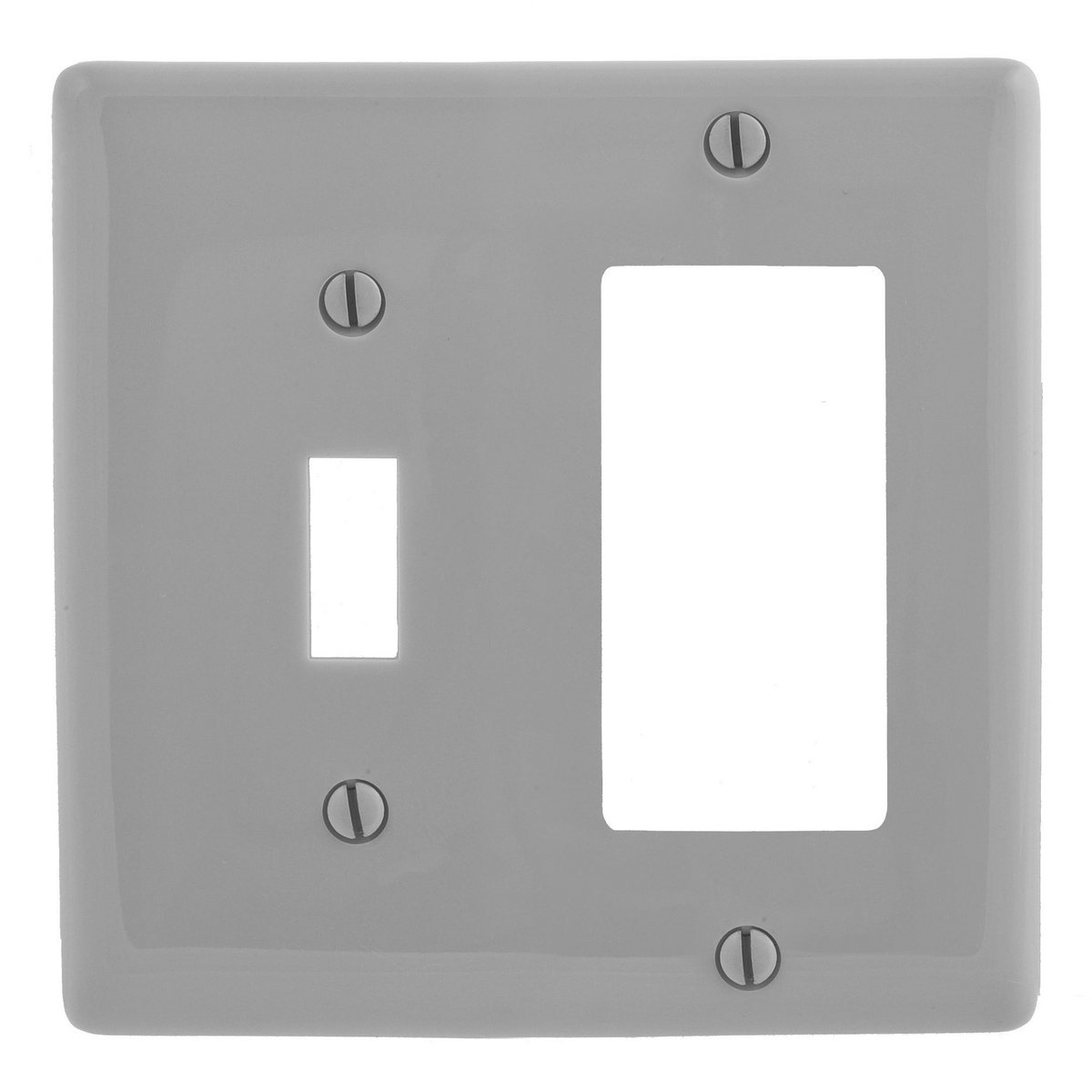 Hubbell NP126GY 2-Gang Gray Nylon Standard 1-Toggle 1-Decorator Switch Combination Wallplate