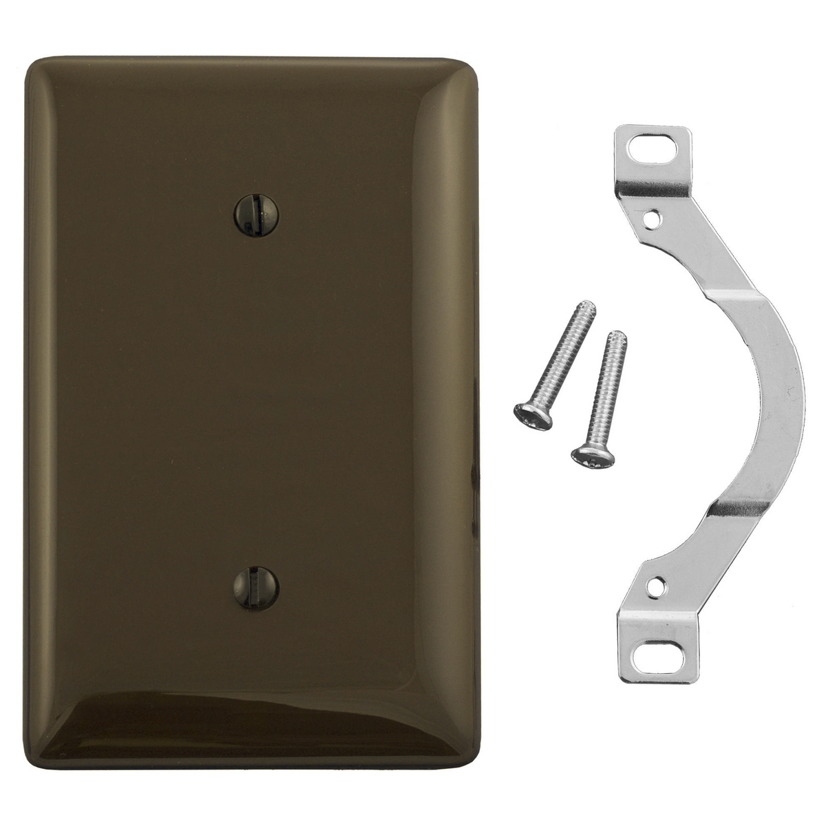 Hubbell NP14 1-Gang Brown Strap Mount Blank Wall Plate