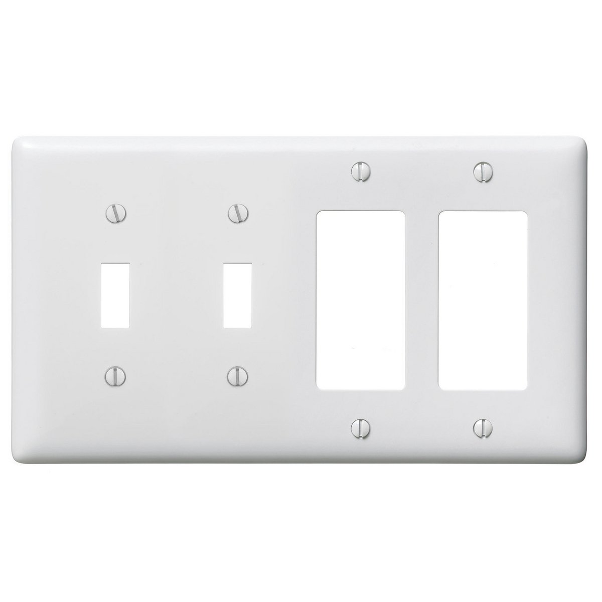 Hubbell NP2262W WALLPLATE, 4-G, 2) TOG 2) DEC, WH