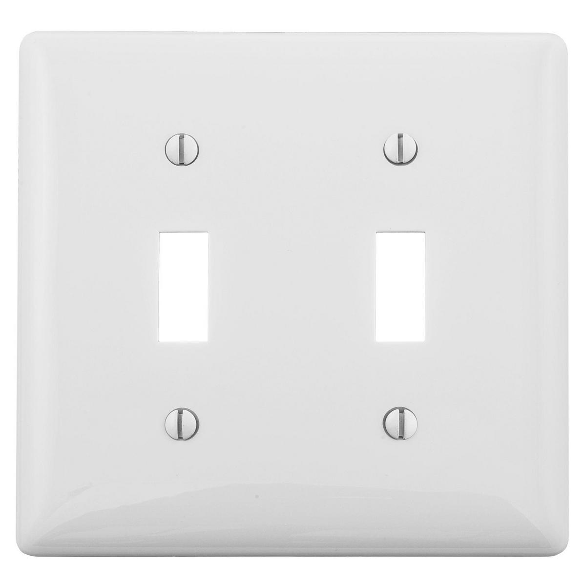 Hubbell NPJ2W 2-Gang White Nylon Medium 2-Toggle Switch Wallplate