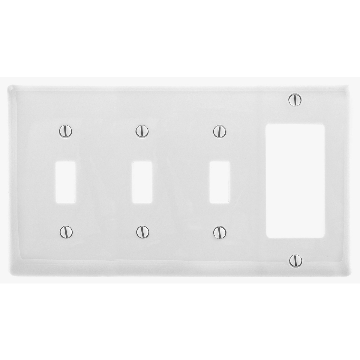 Hubbell NP326W 4-Gang White Nylon Standard 3-Toggle 1-Decorator Switch Combination Wallplate