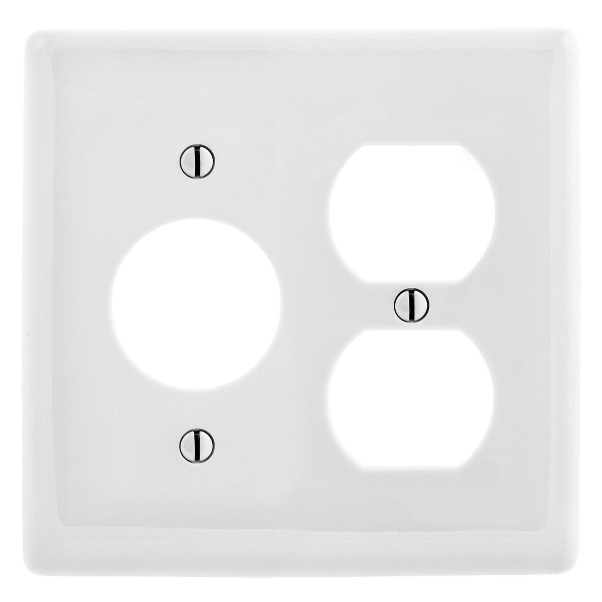 Hubbell NP78W 2-Gang White Nylon Standard 1-Duplex 1-Single Receptacle Combination Wallplate