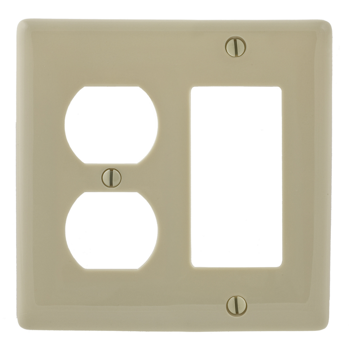 Hubbell NP826I 2-Gang Ivory Nylon Standard 1-Decorator Switch 1-Duplex Receptacle Combination Wallplate