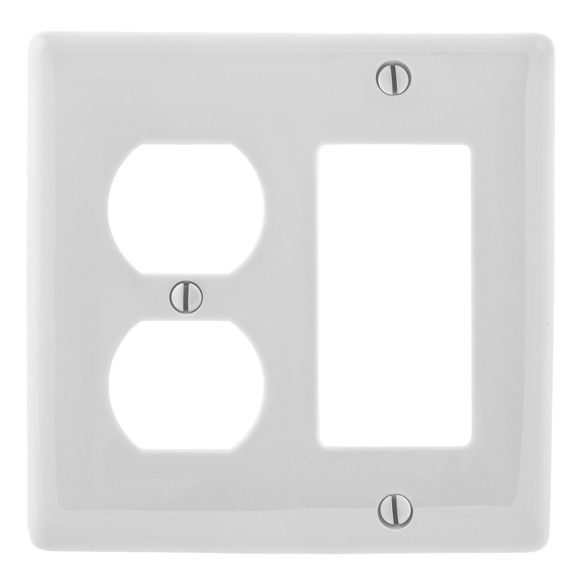 Hubbell NP826W 2-Gang White Nylon Standard 1-Decorator Switch 1-Duplex Receptacle Combination Wallplate