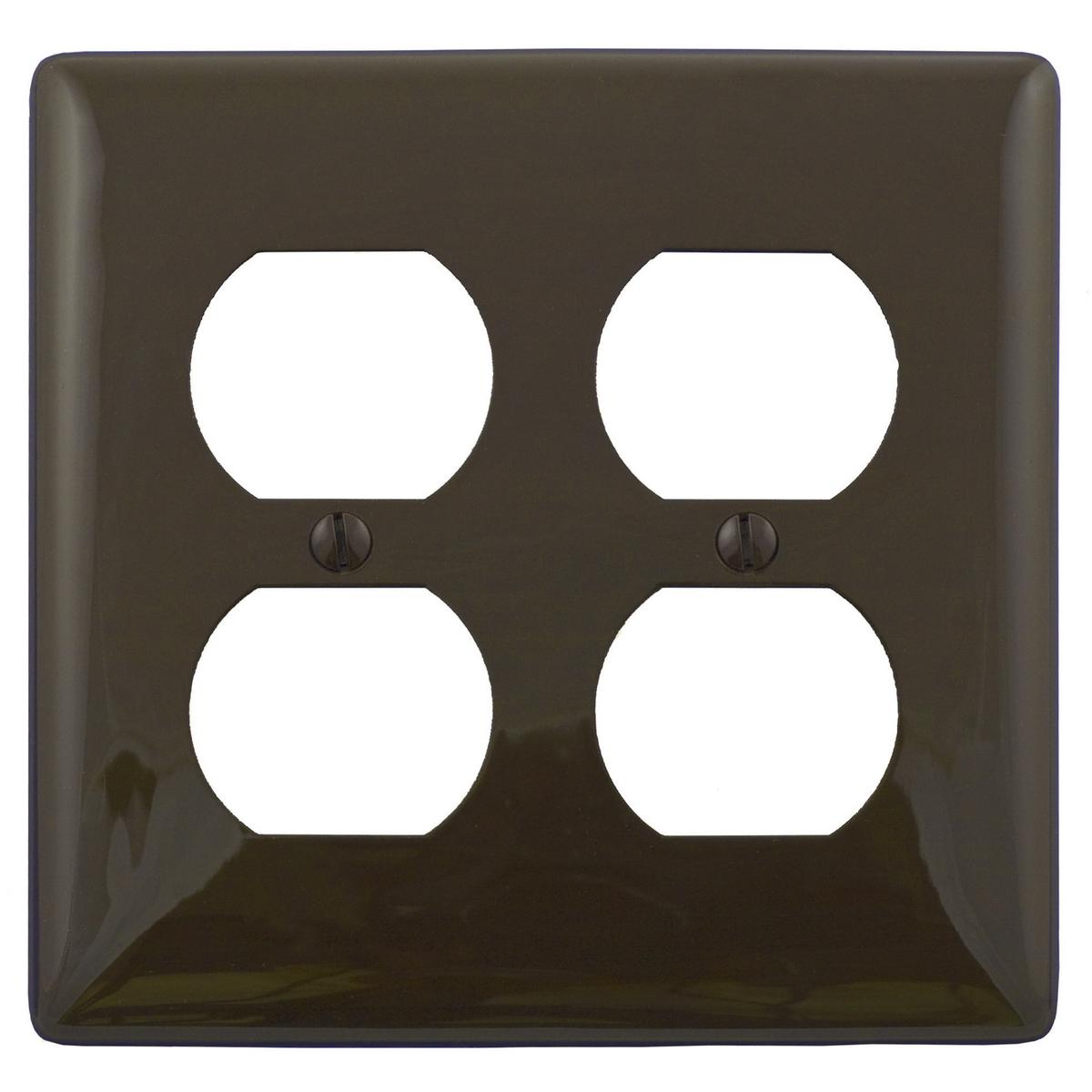 Hubbell NP82 2-Gang Brown Nylon Standard 2-Duplex Receptacle Wallplate