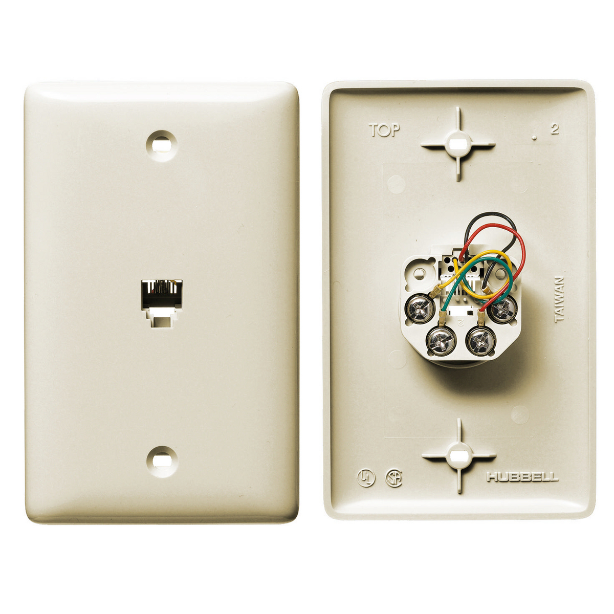Hubbell NS730LA 1-Gang Light Almond Thermoplastic Standard 1-RJ11 Molded-In Data Communication Plate