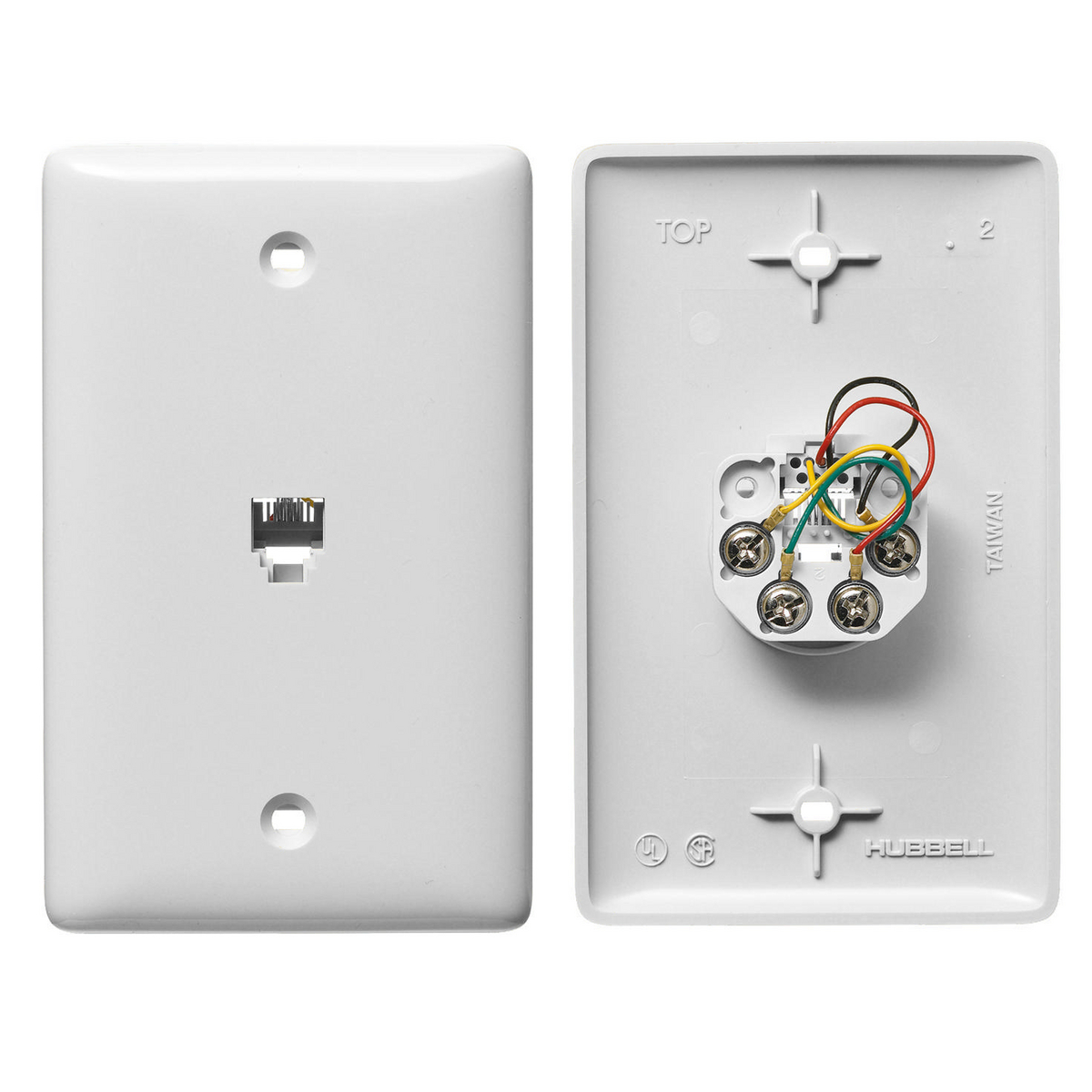 Hubbell NS730W 1-Gang White Thermoplastic Standard 1-RJ11 Molded-In Data Communication Plate