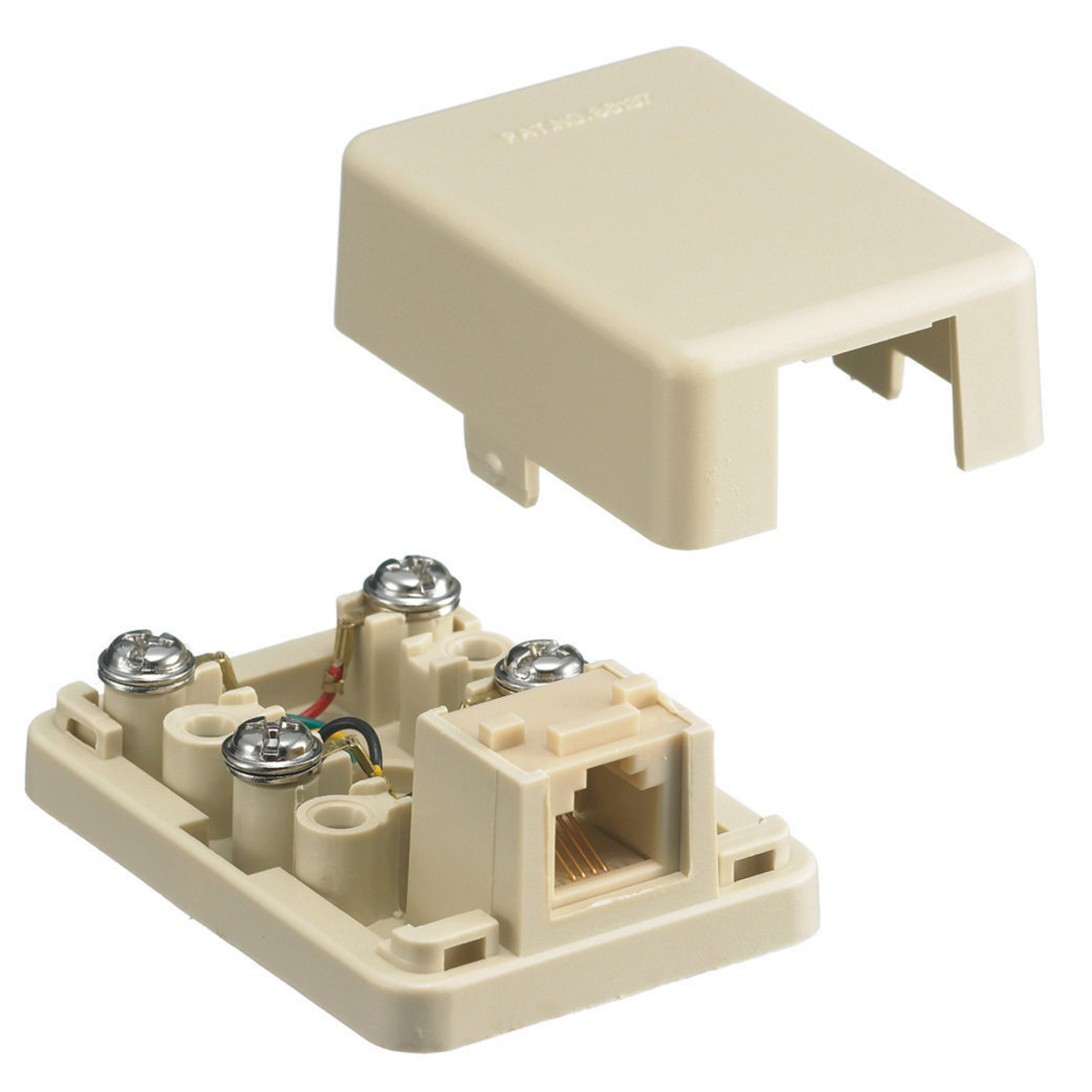Hubbell Wiring Devices NS760I Ivory Thermoplastic 6-Position 4-Conductor Surface Mount Telephone Wall Jack
