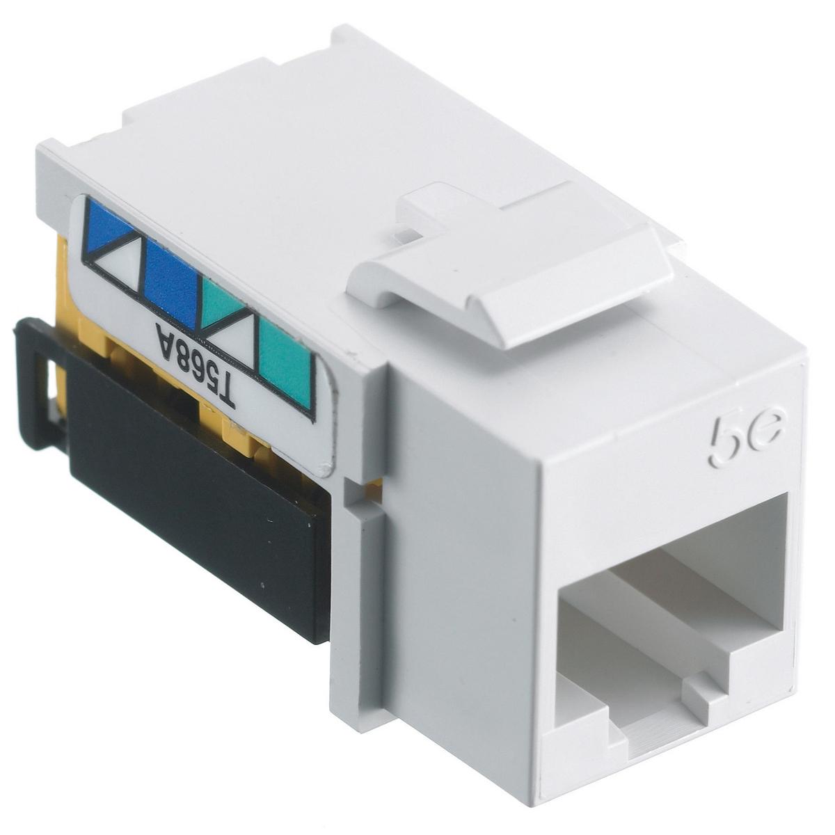 Hubbell NSJ5EW 8-Position White T568A/T568B Category 5E Modular Keystone Jack