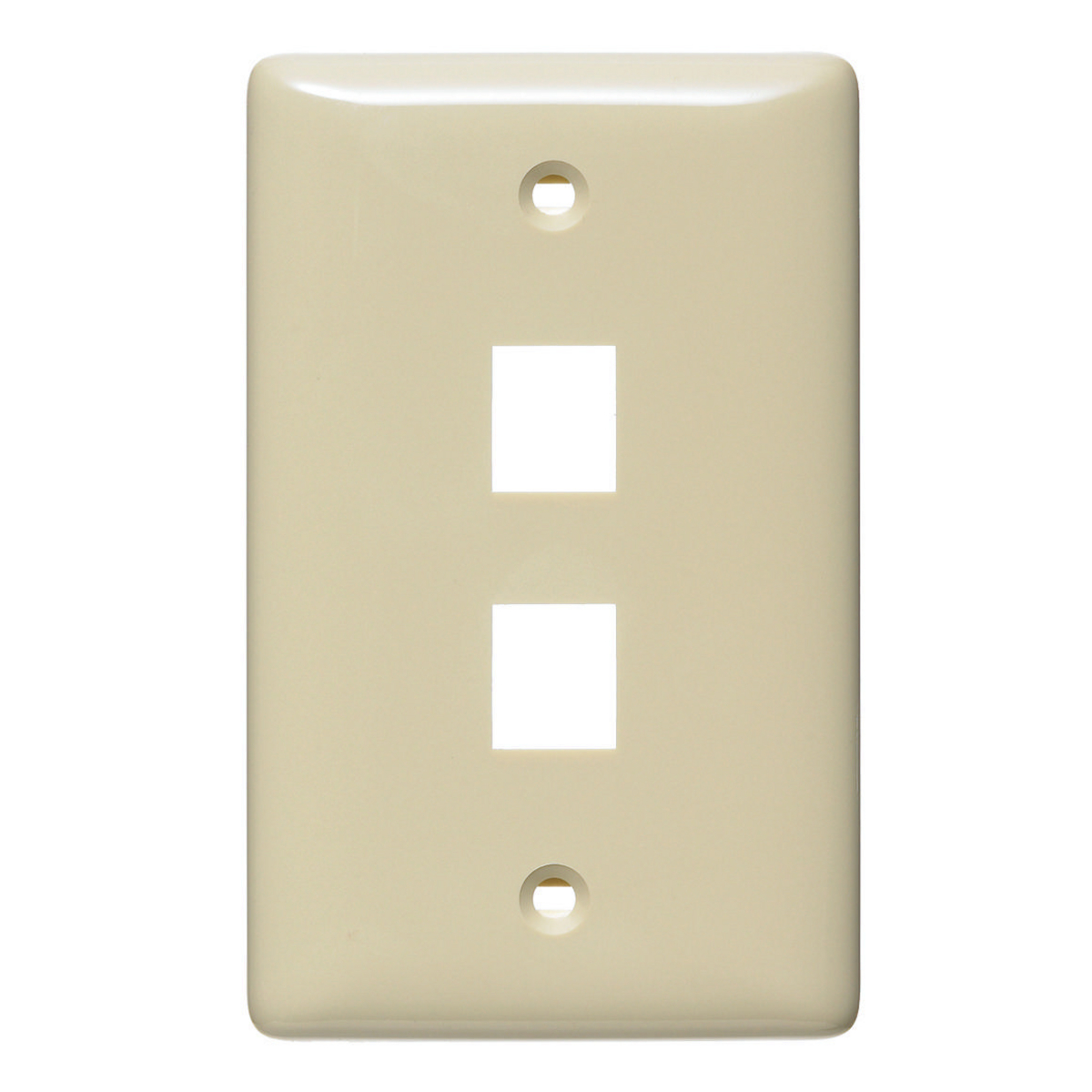Hubbell NSP12I 1-Gang Ivory Thermoplastic Standard 2-Port Data Communication Face Plate