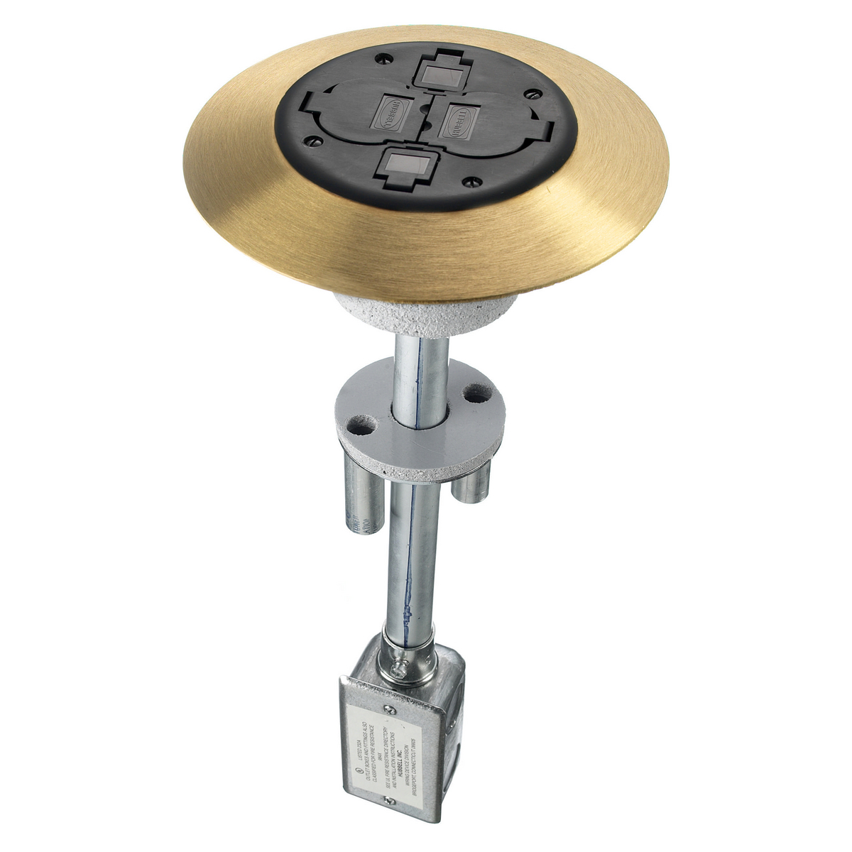 Hubbell PT2X2BRS3 2 x 2 Flush Black/Brass 1-Piece Concrete Floor Fire Rated Poke-Through Device