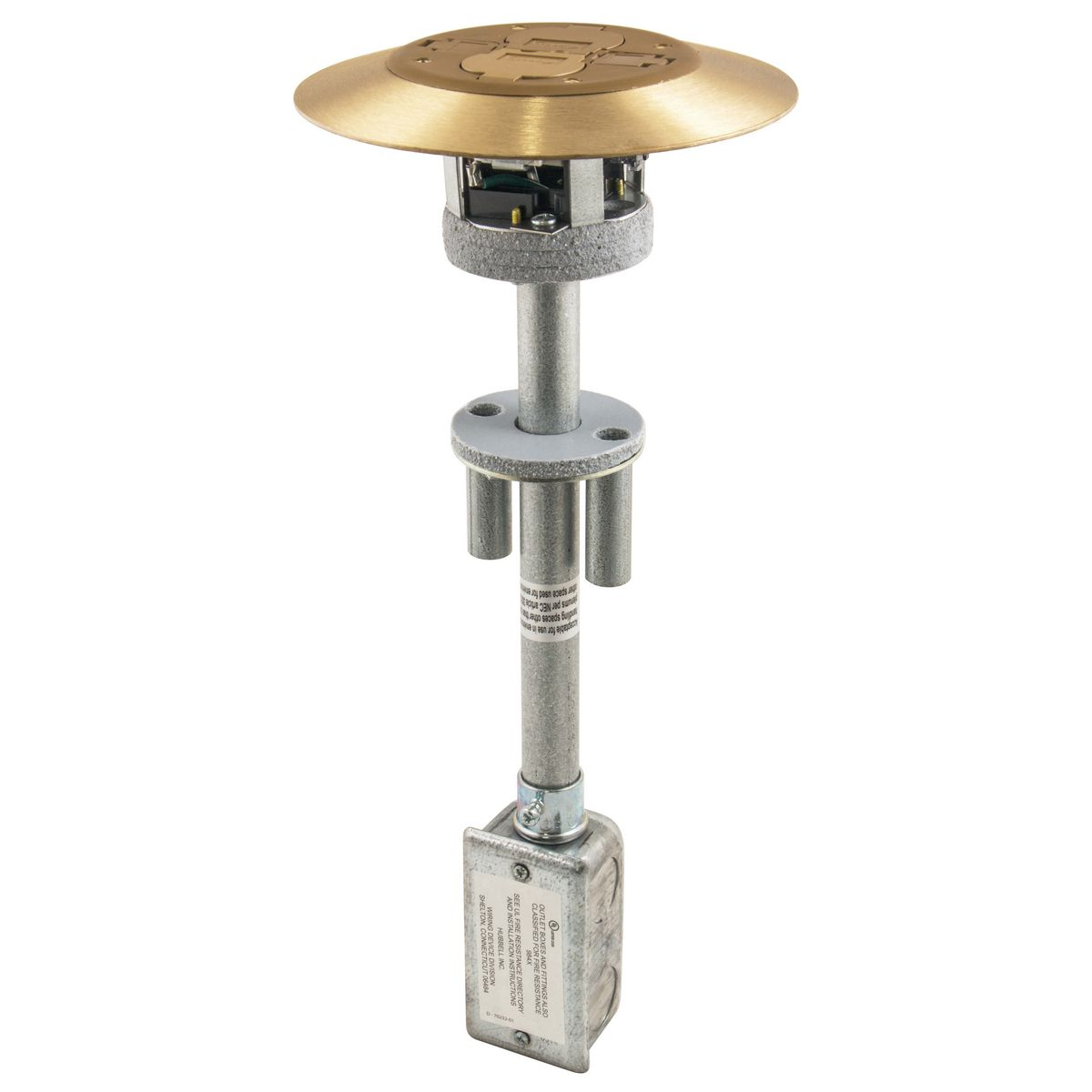 Hubbell PT2X2BRS 2 x 2 Flush Brass 1-Piece Concrete Floor Fire Rated Poke-Through Device