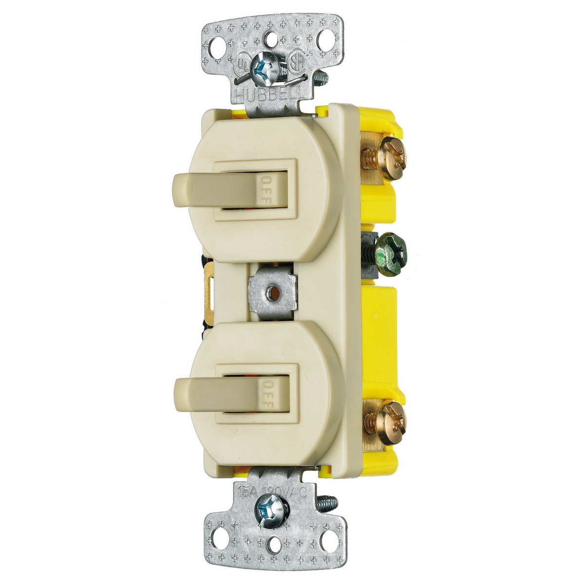 Hubbell RC101I Combination Toggle Switch, (2) 15A 120V Toggles - Ivory