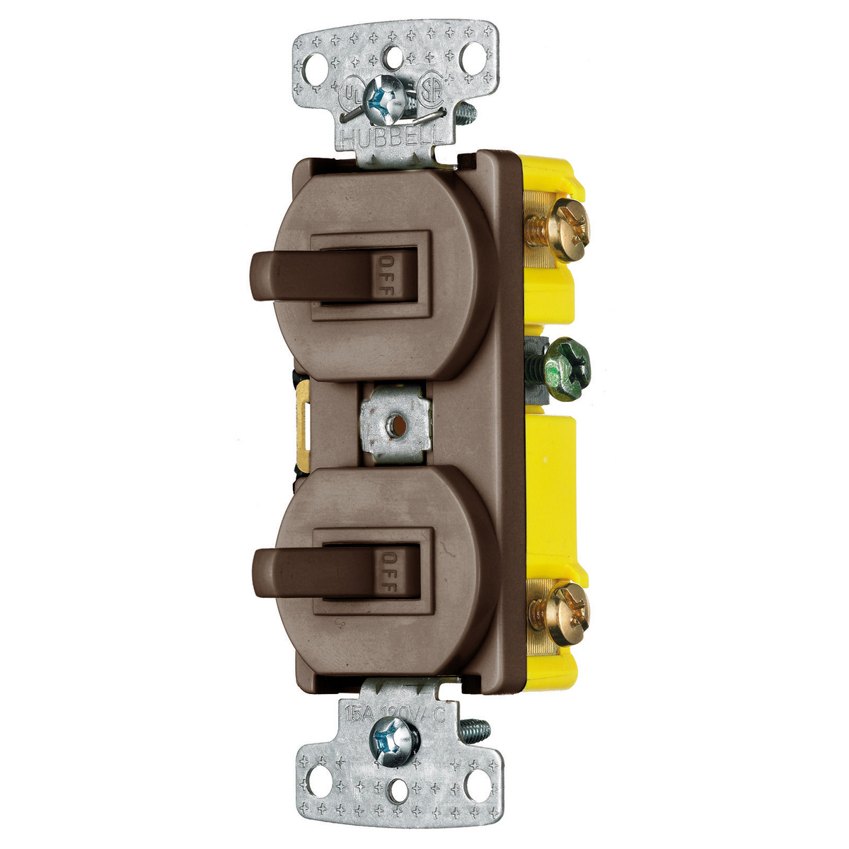 Hubbell RC103 15 Amp 120 VAC 1-Pole 3-Way Brown Combination Switch