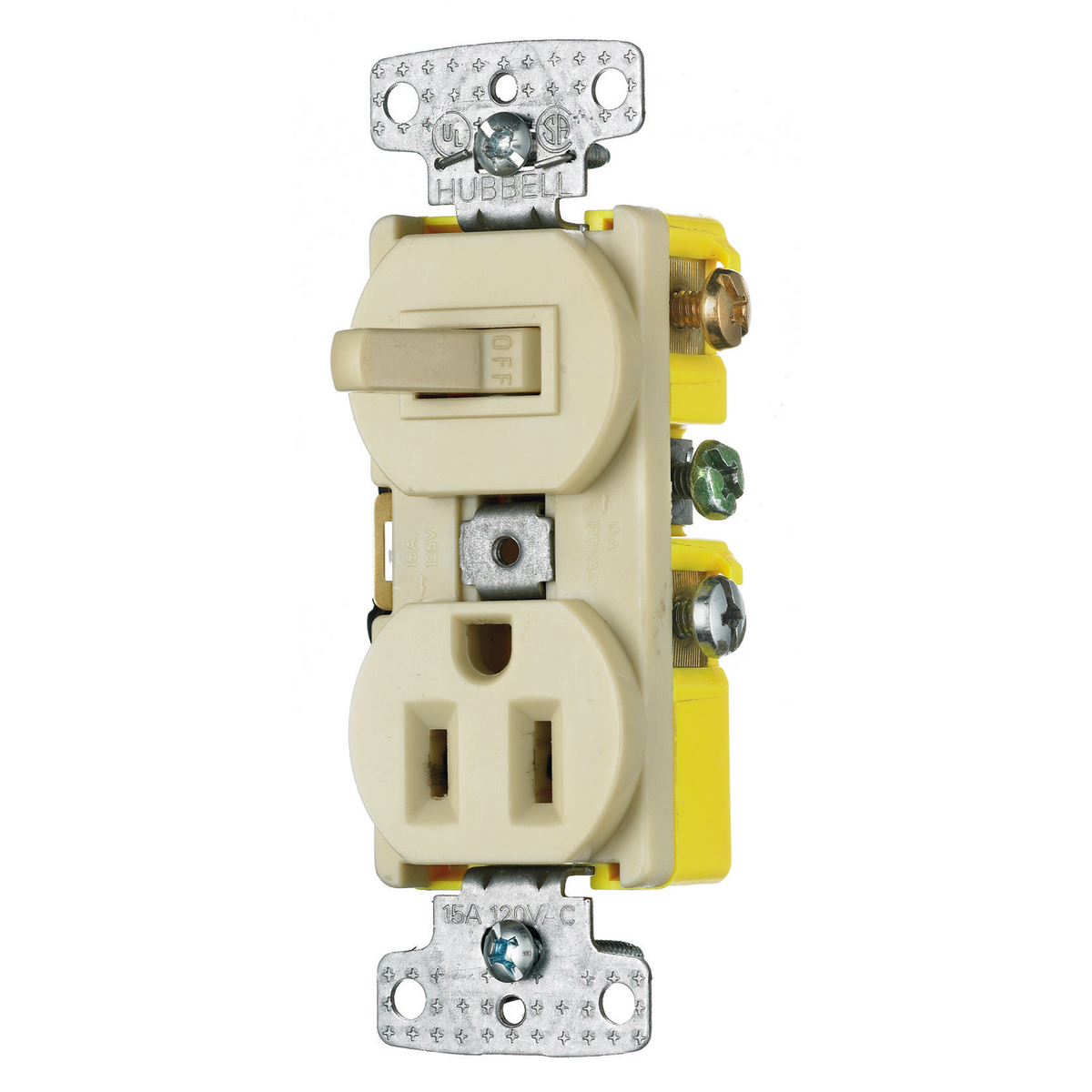 Hubbell RC108I 15 Amp 120/125 Volt 1-Pole Switch 2-Pole 3-Wire Receptacle Ivory Combination Switch
