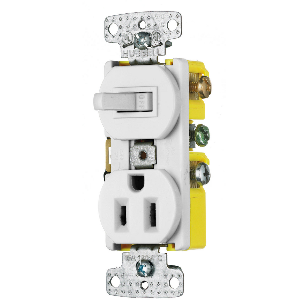 Hubbell RC108W 15 Amp 120/125 Volt 1-Pole Switch 2-Pole 3-Wire Receptacle White Combination Switch