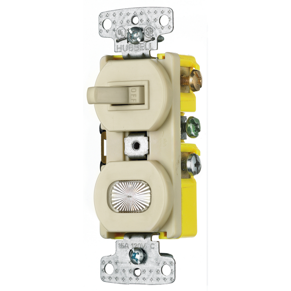 Hubbell RC309I 15 Amp 120 VAC 3-Way Ivory Combination Switch with Pilot Light