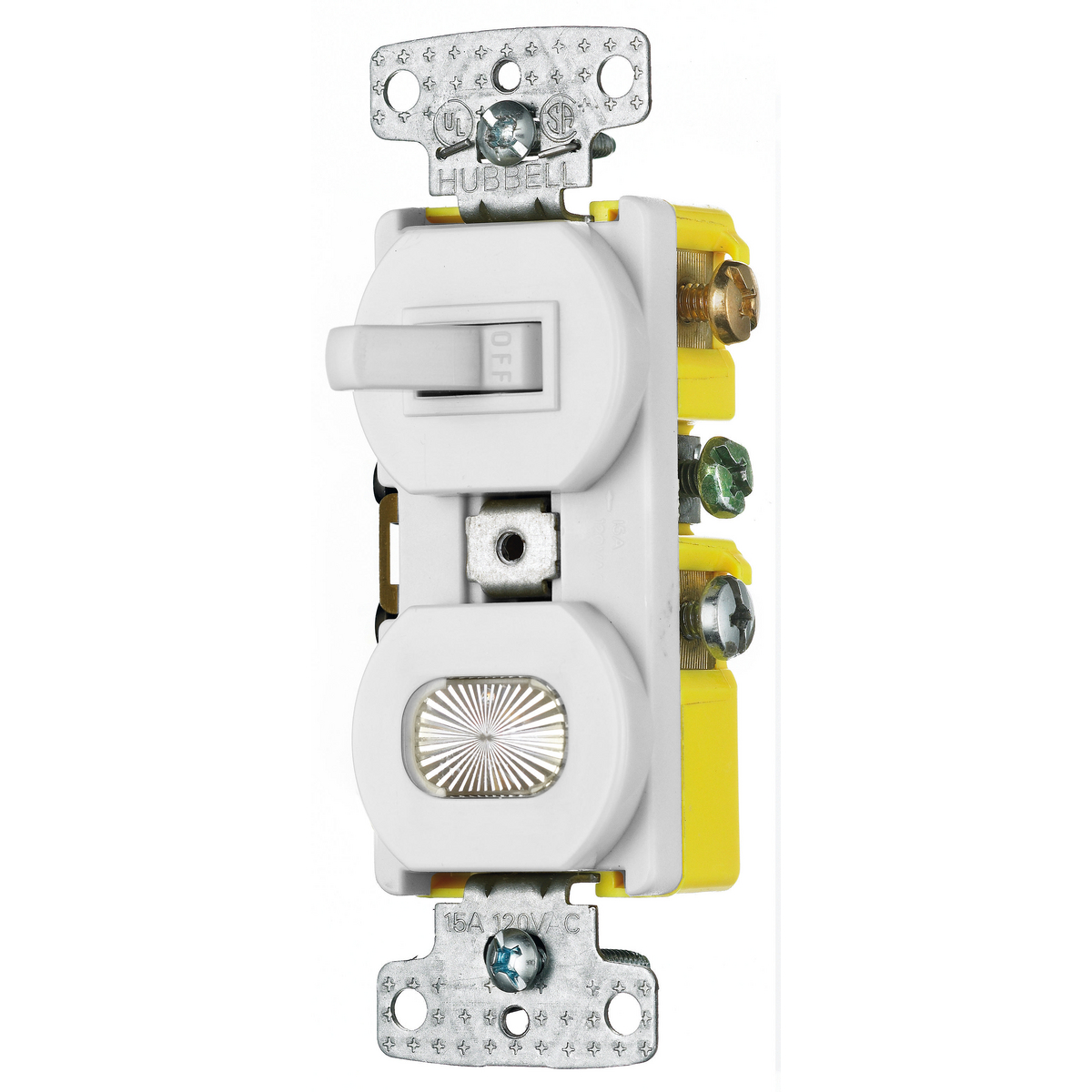 Hubbell RC309W 15 Amp 120 VAC 3-Way White Combination Switch with Pilot Light