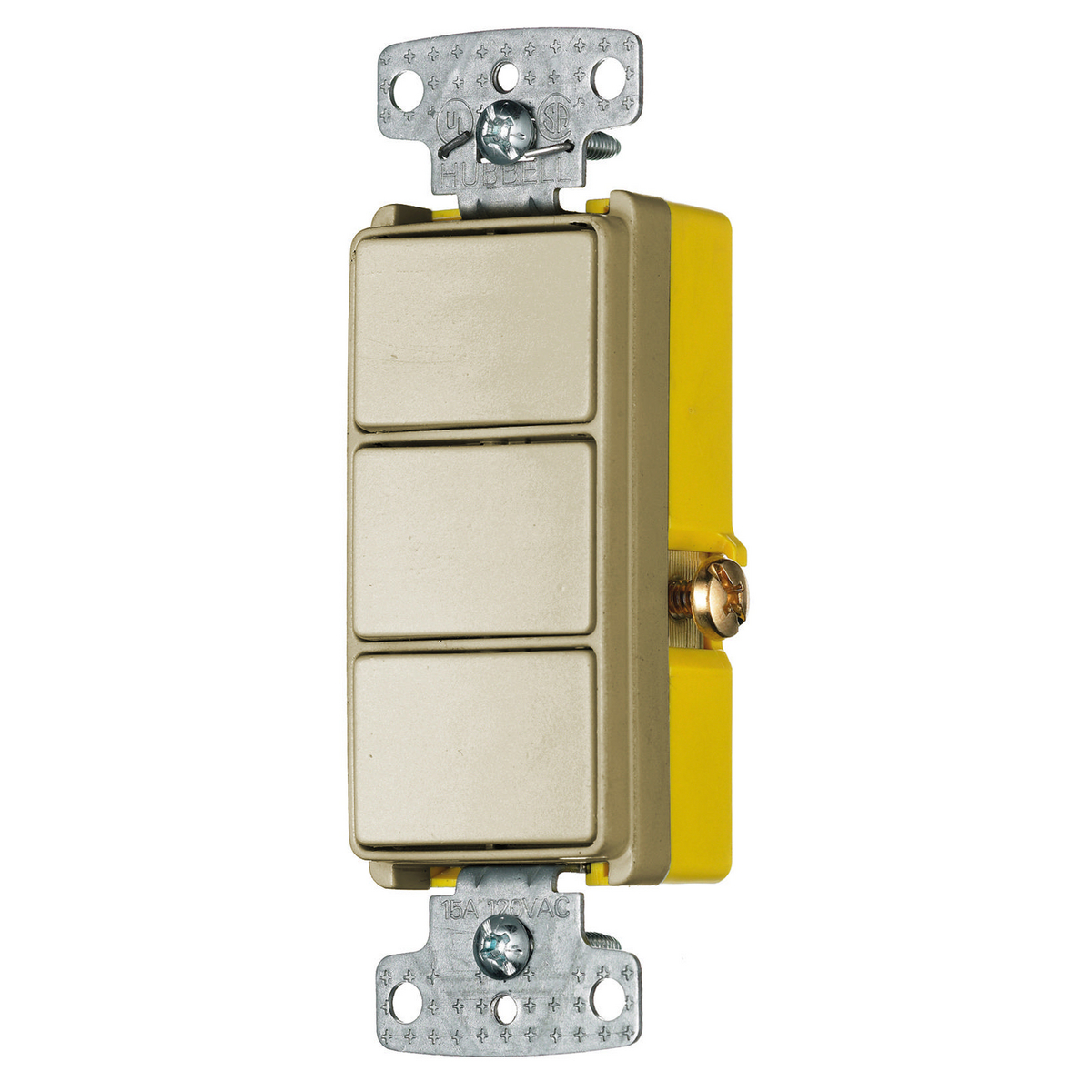 Hubbell RCD111I 15 Amp 120 to 277 VAC 1-Pole Ivory Quiet Rocker Switch