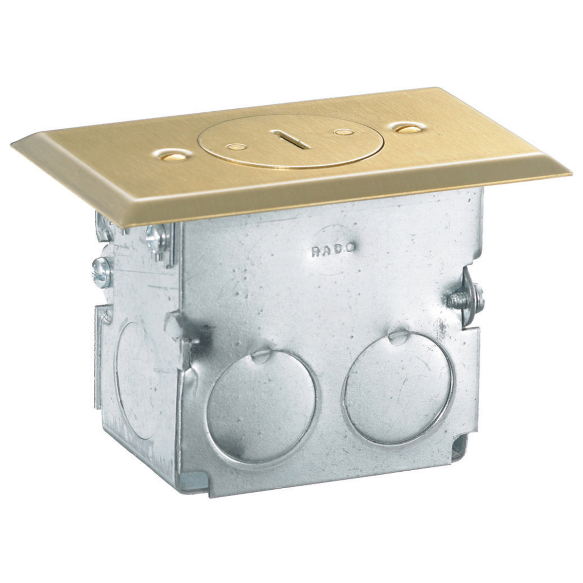 Hubbell RF151TR Solid Brass Single Receptacle Wood Floor Box