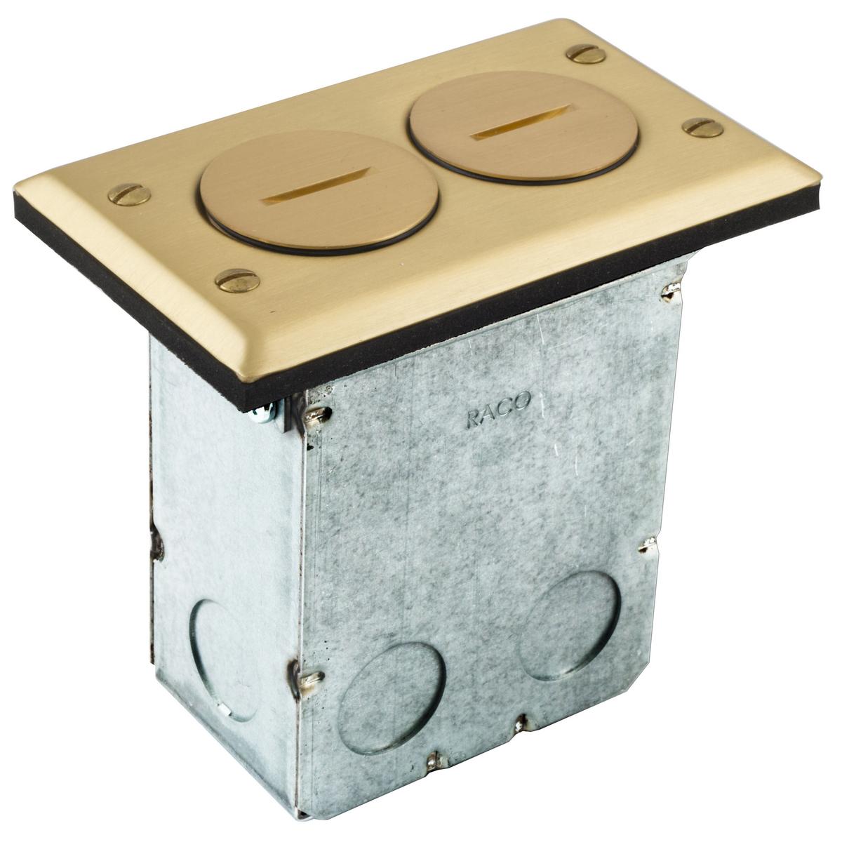 HUBRF6500BR FLR BOX KIT, 15A DUPLEX, BRASS ,RF6500BR, HUBBELL