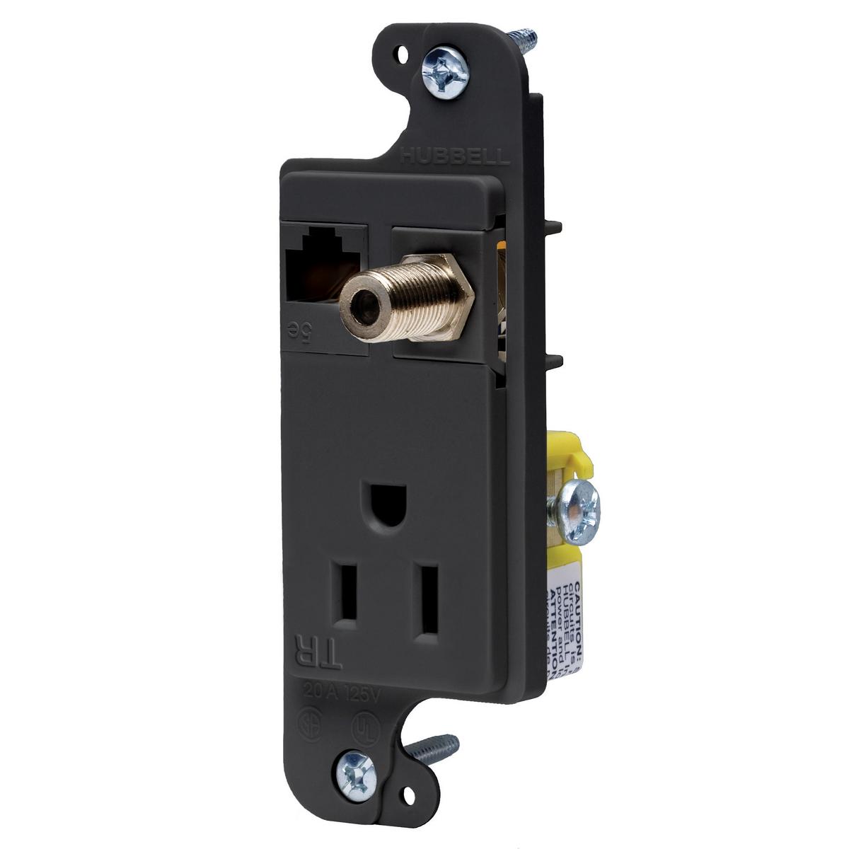 Hubbell RJ650BKTR 15 Amp 125 Volt Black Standard Multimedia Outlet