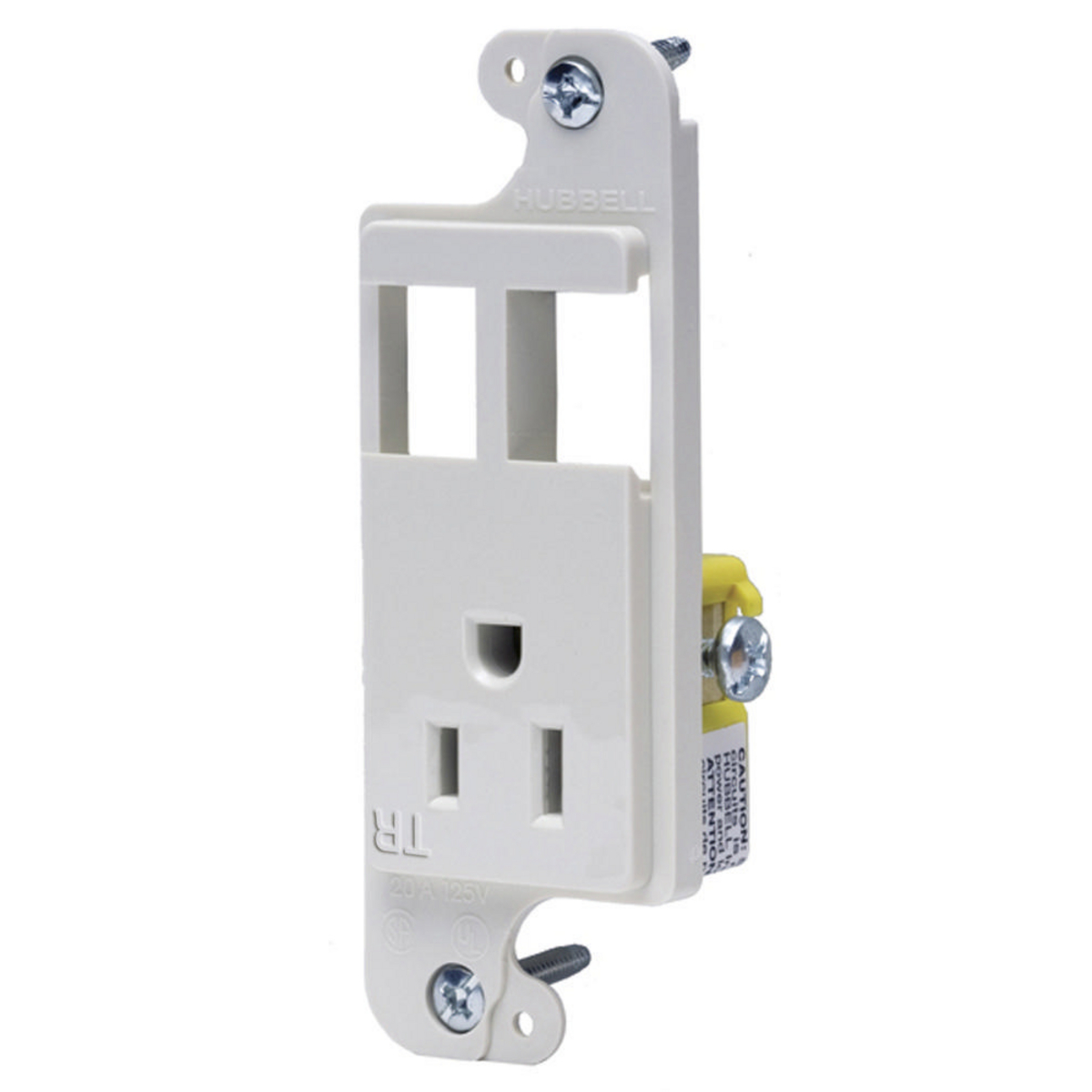 Hubbell RJ65WTR JLOAD 15A RECEPT TR & 2 PORTS, WHITE
