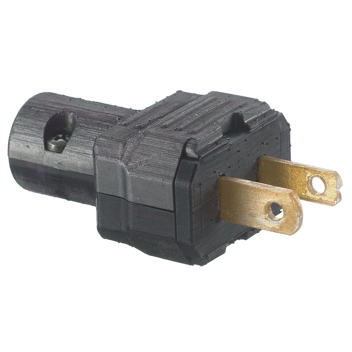 Hubbell RP101BK Plug, 15A 125V, 2W, POLAR, LIGHT DUTY, BK