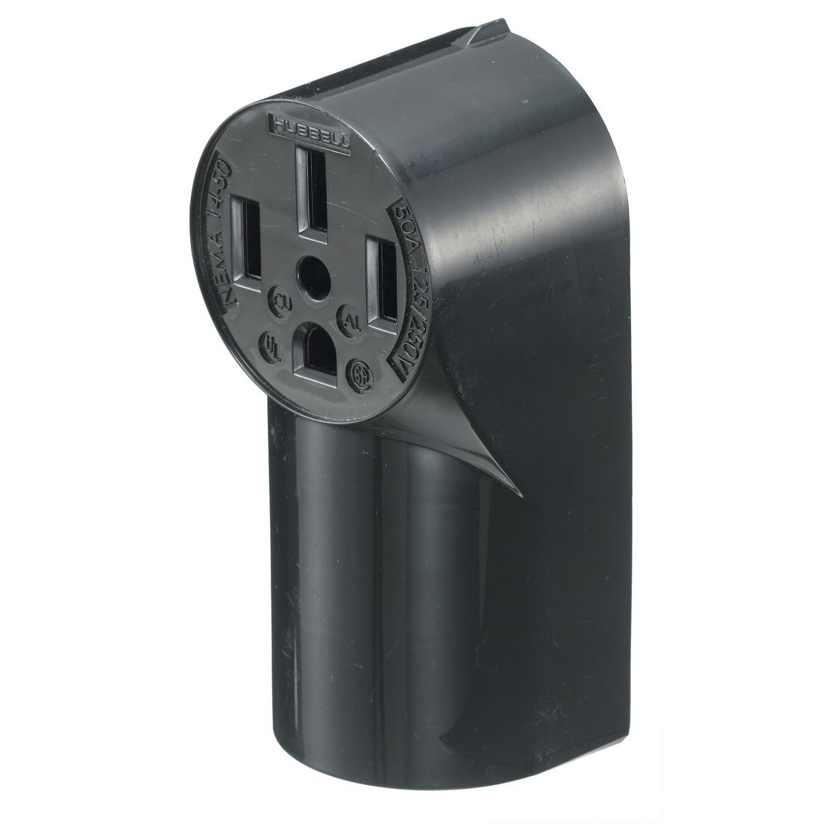 Hubbell RR450 50 Amp 125/250 Volt 3-Pole 4-Wire NEMA 14-50R Black Range and Dryer Power Receptacle