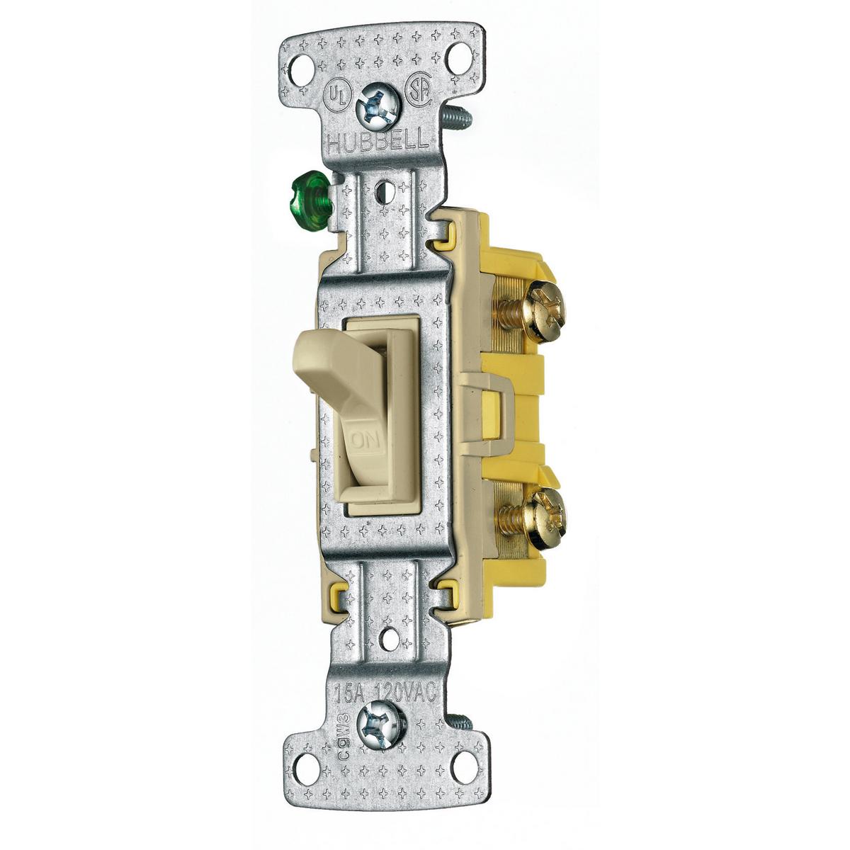 Hubbell RS115ILI 15 Amp 120 VAC 1-Pole Ivory Toggle Switch