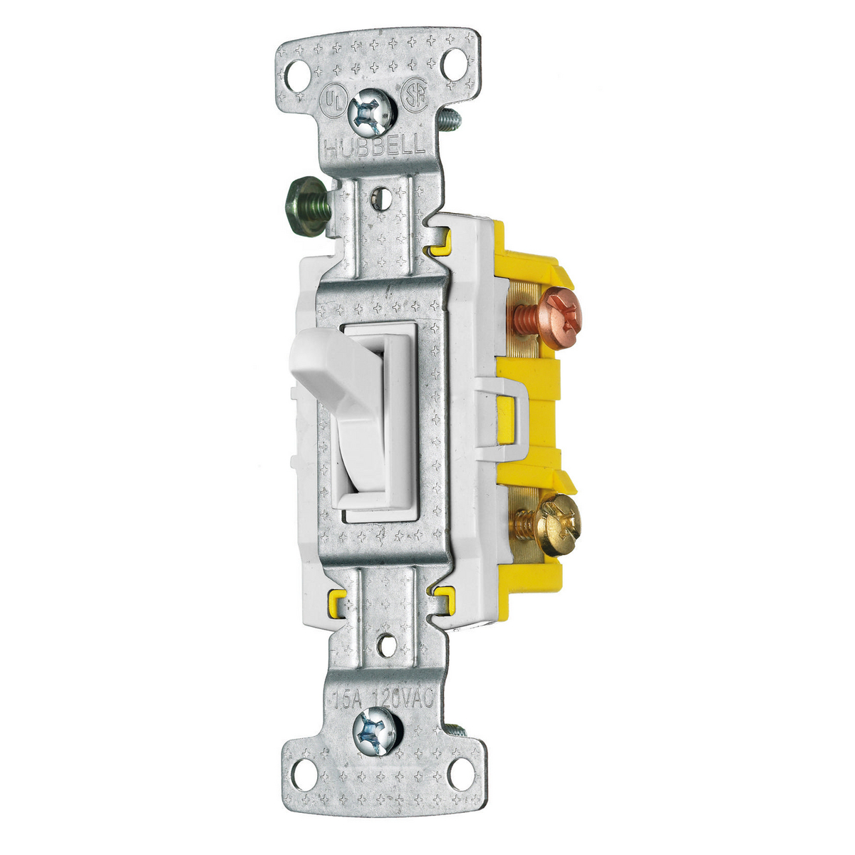 Hubbell RS315W 15 Amp 120 VAC 3-Way White Toggle Switch