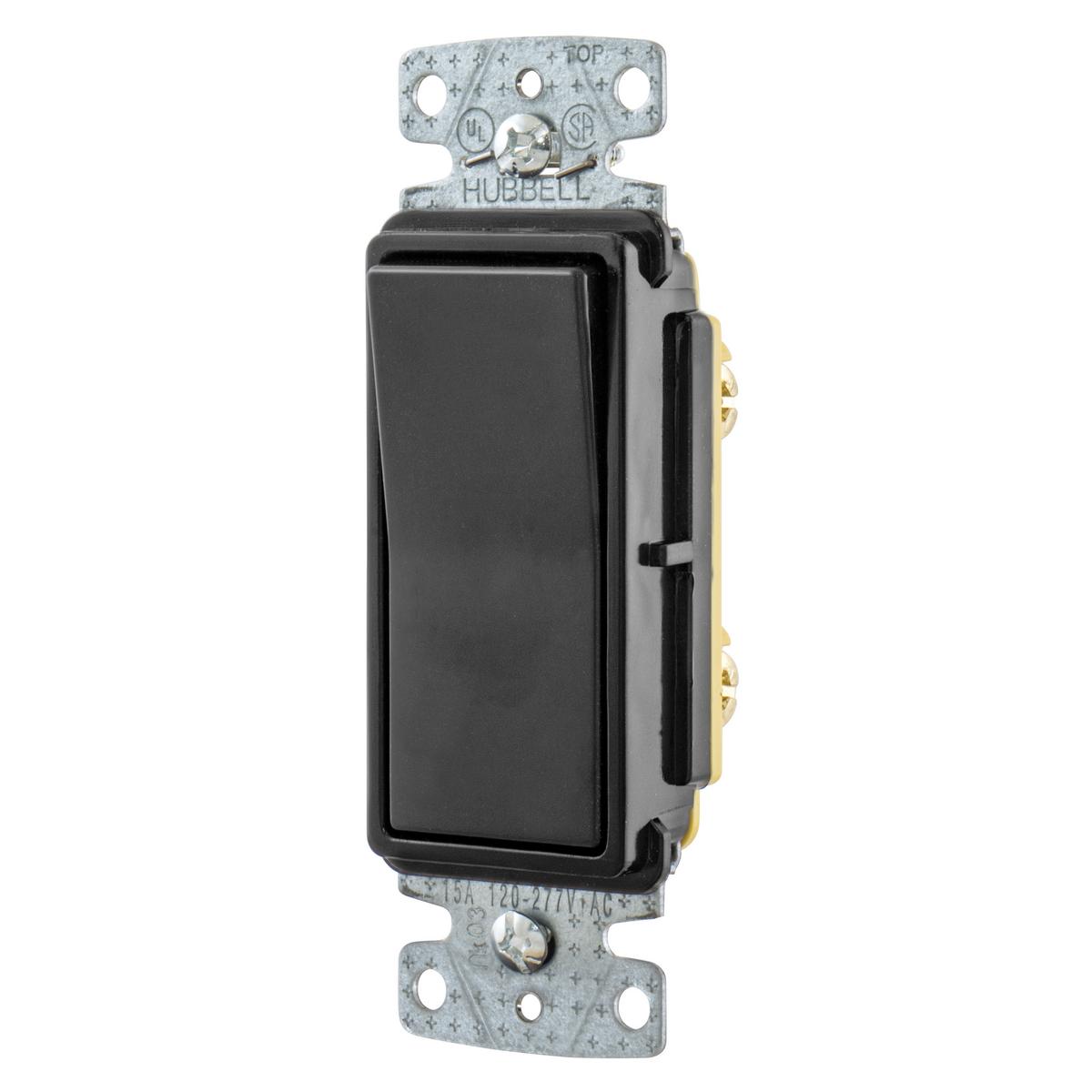 Hubbell RSD115BK 15A Single Pole Decorator Rocker Switch, 120-277V - Black