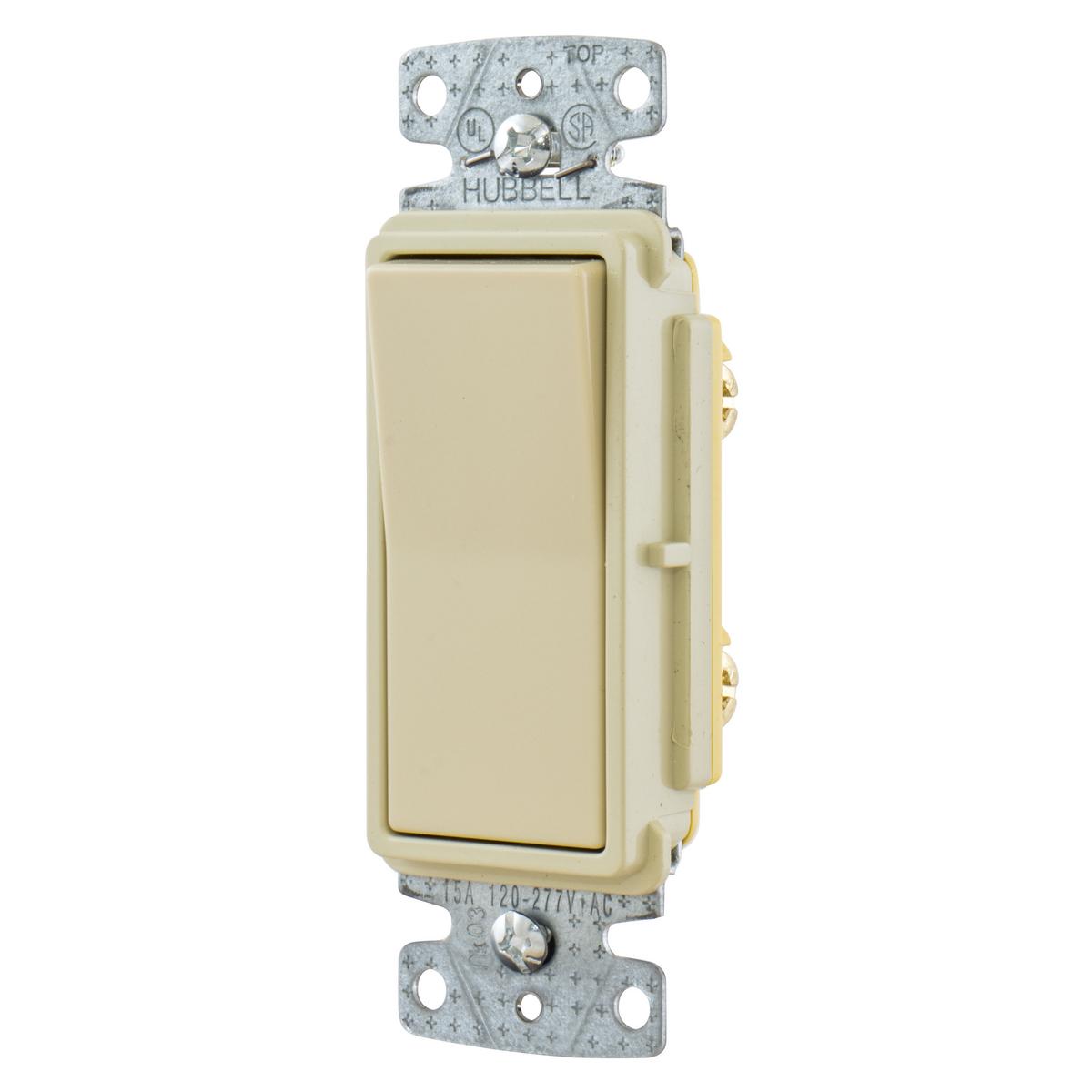 Hubbell RSD115I 15A Single Pole Decorator Rocker Switch, 120-277V - Ivory