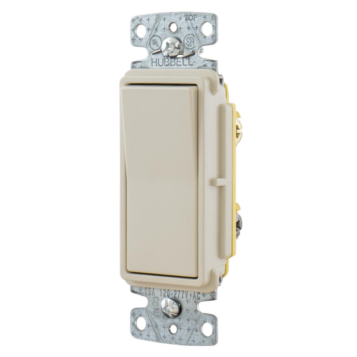 Hubbell RSD315LA 15 Amp 120/277 VAC 3-Way Light Almond Rocker Switch