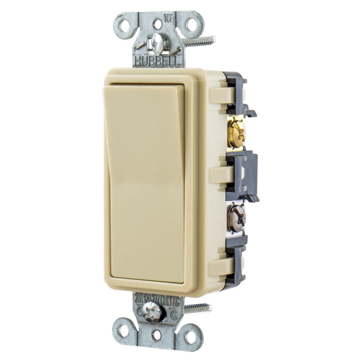 Hubbell RSD415I 15 Amp 120/277 VAC 4-Way Ivory Rocker Switch