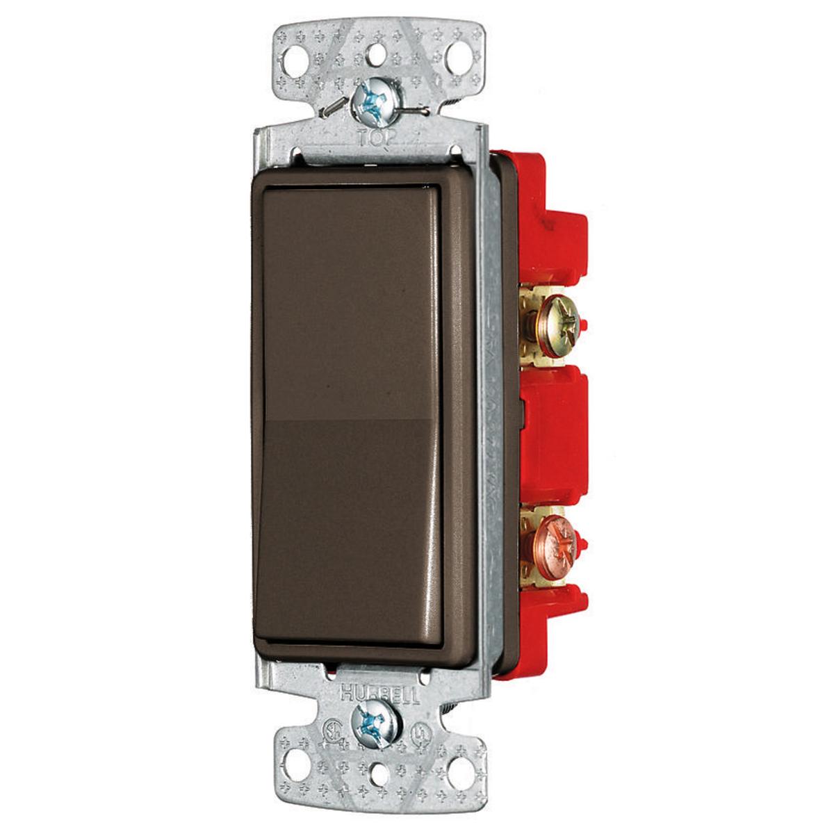Hubbell RSD415 RESI ROCKER SW, 4W, 15A 120/277V, BR