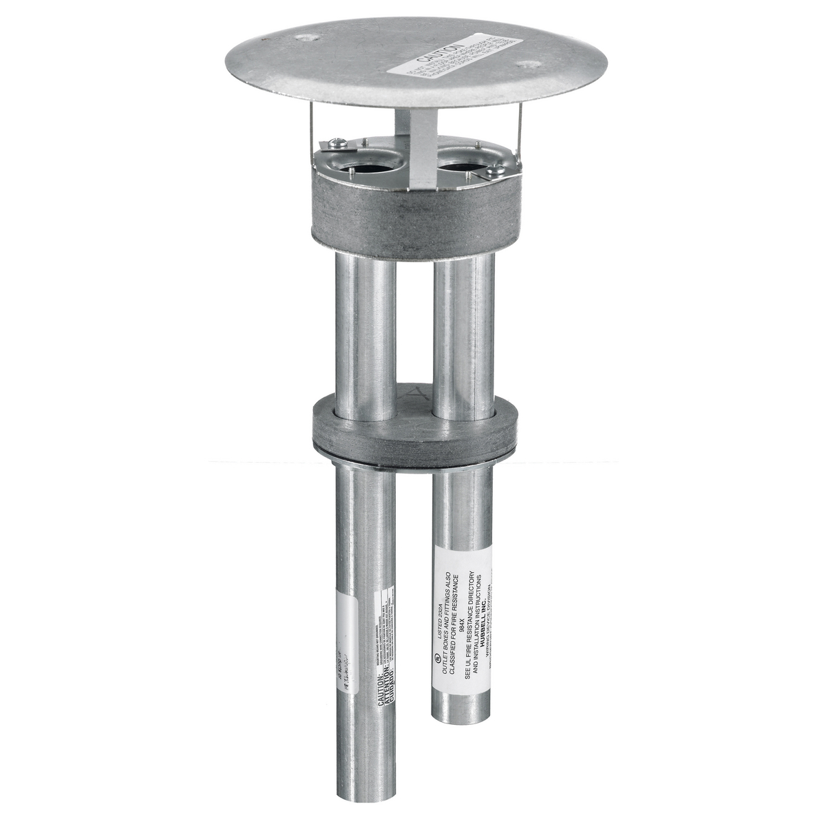 Hubbell Wiring Device Kellems, In-Floor Delivery Systems, SystemOneThrough-Floor Fitting, 4x4, Dual Channel