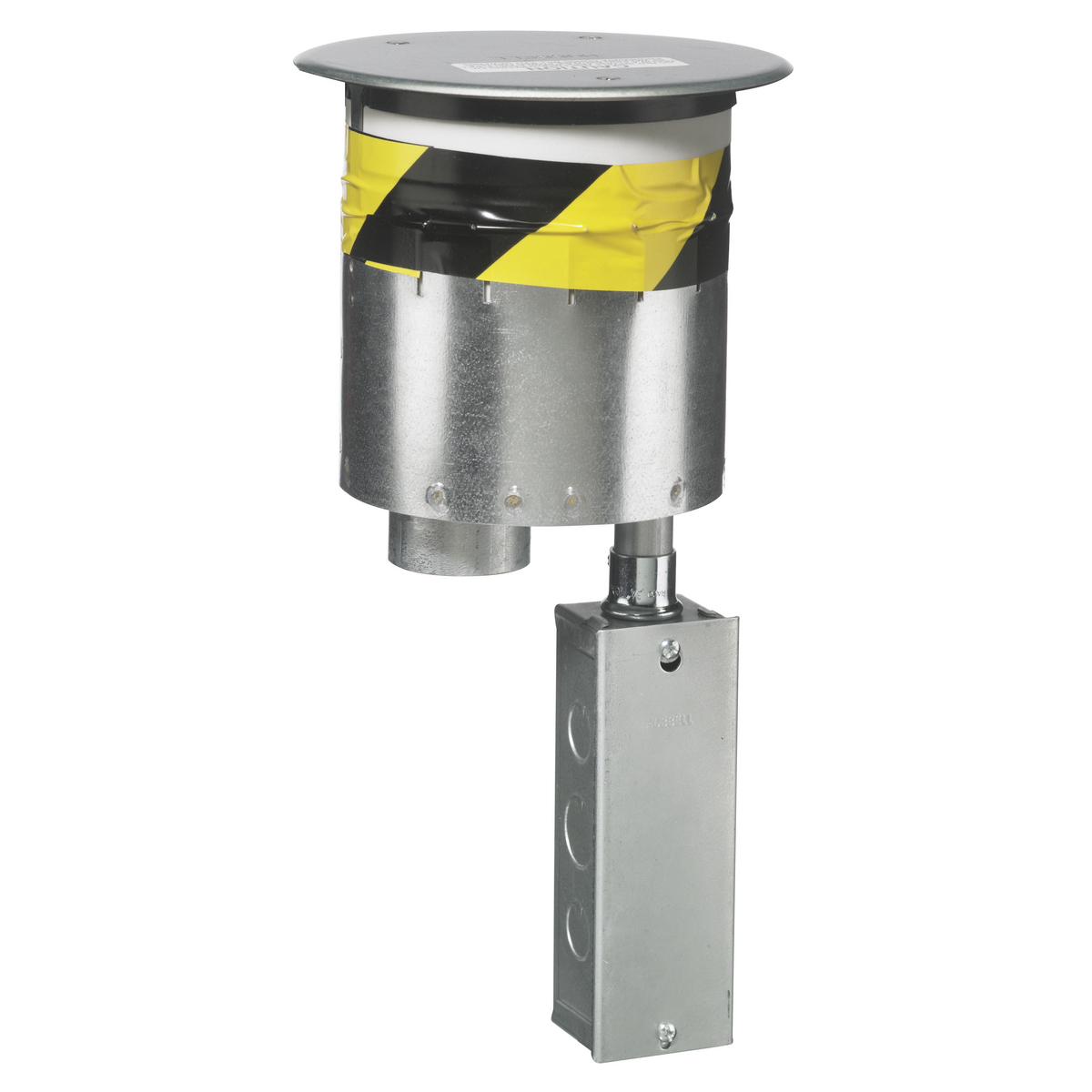 Wiring Device-Kellems ScrubShield™ SystemOne™ Poke-Through, Flush Recessed Standard Sized, 6 in Hole, 1000 lb Capacity, Fire Rated Device, 8.73 in Length, For Use With: In-Floor Delivery Systems and Concrete Floors, 7.53 in Dia x 0.06 in H Cover, Die Cast Aluminum Cover, Composite, Metallic